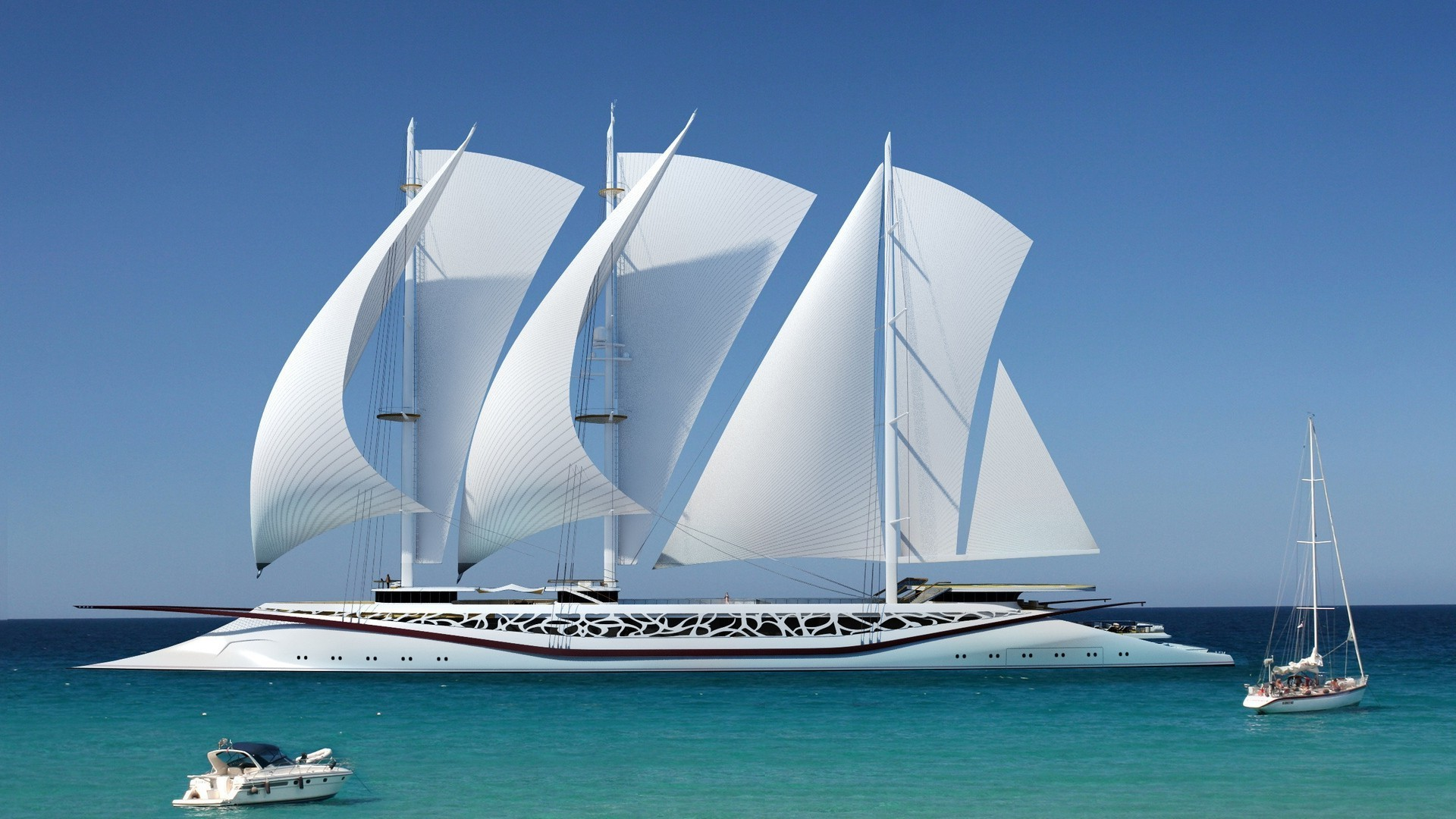 1920x1080 nature, Sea, Ship, Sailing Ship, Yacht, Horizon, Modern, Sky Wallpapers HD  / Desktop and Mobile Backgrounds