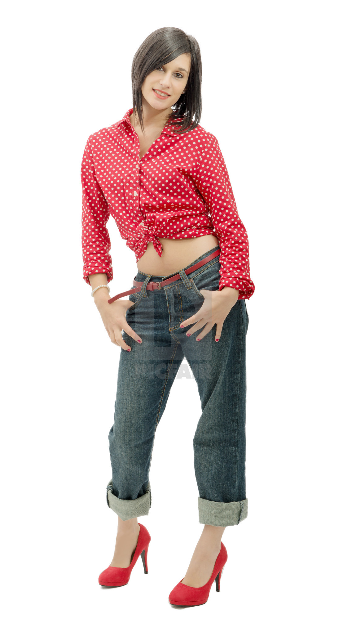 "1120x2027 ""smiling woman, dressed in pin-up style"" stock image"