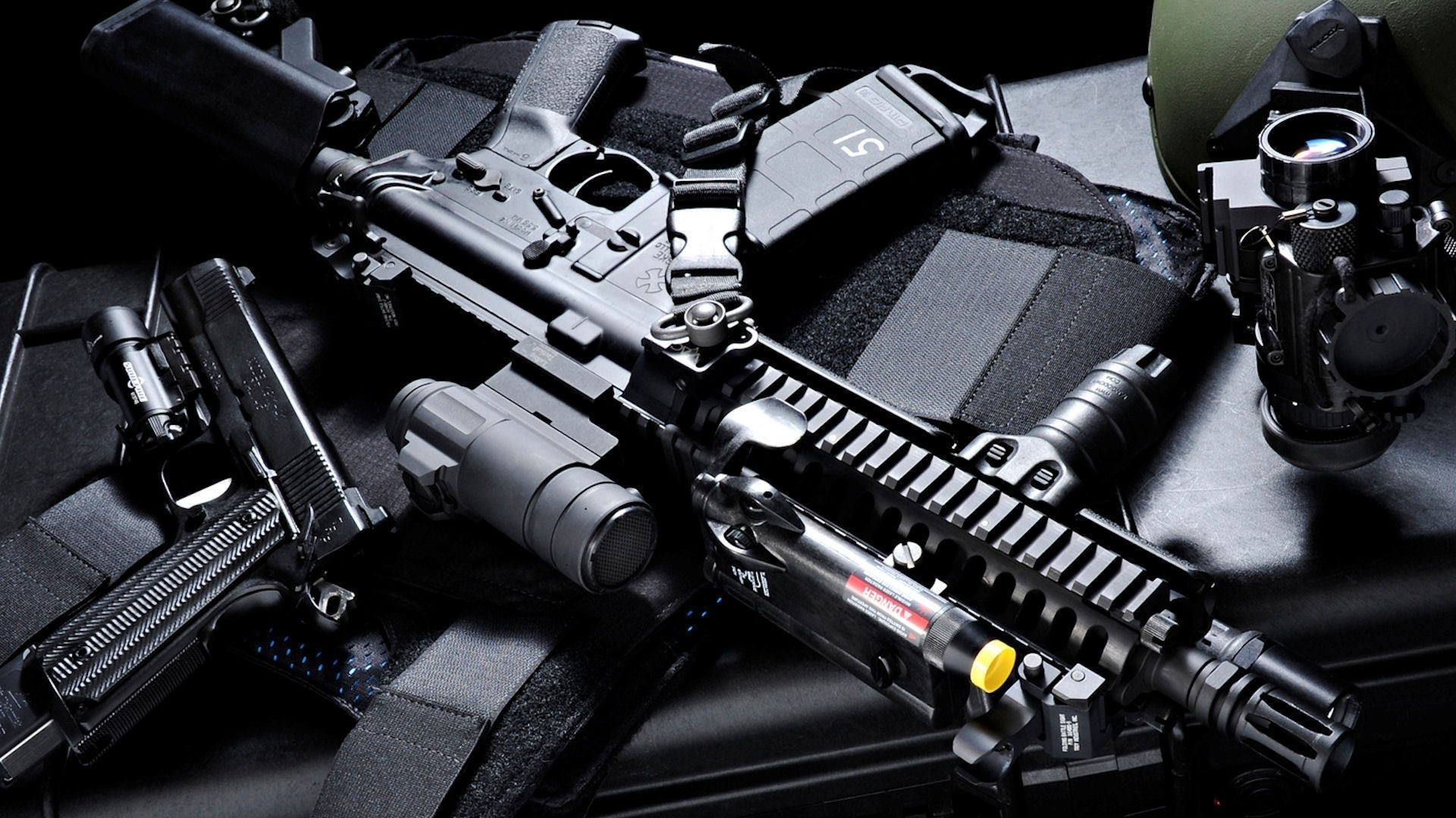 1920x1080 Scope guns wall weapons m1911 ar15 45acp attachments 556mm nato body armors  foregrip telescoping sto Wallpaper