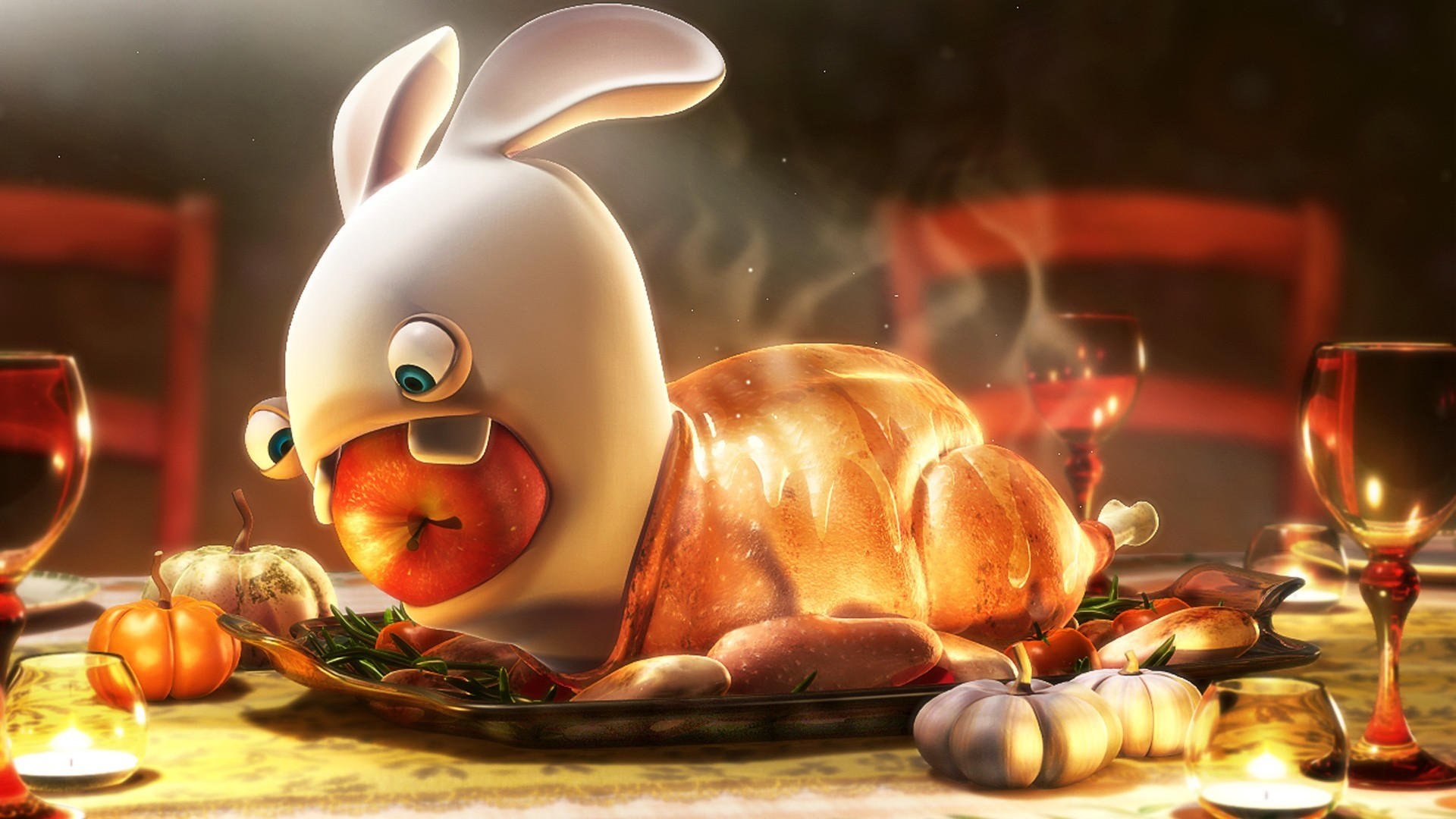 1920x1080 Wallpaper Thanksgiving | Turkey Raving Rabbit Wallpapers