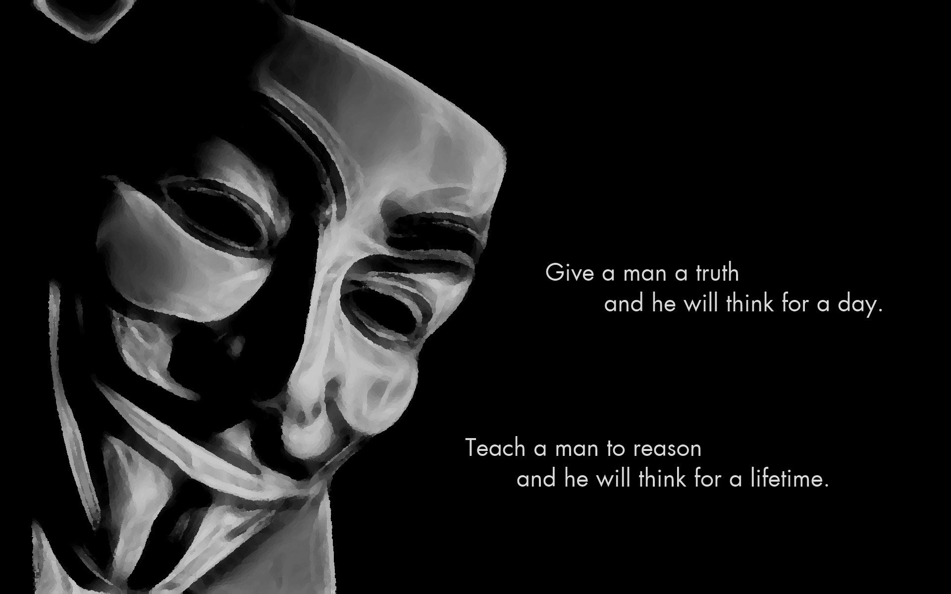 1920x1200 Anonymous Black Background Proverb Quotes Science
