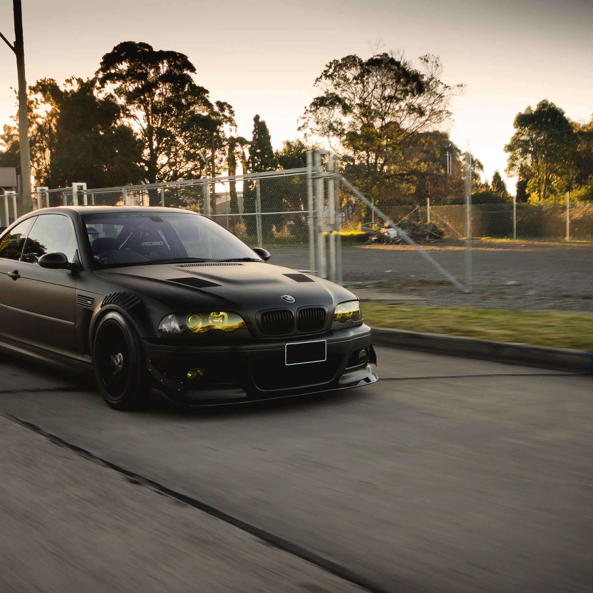 2048x2048 Preview wallpaper bmw, black, m3, e46, tuning