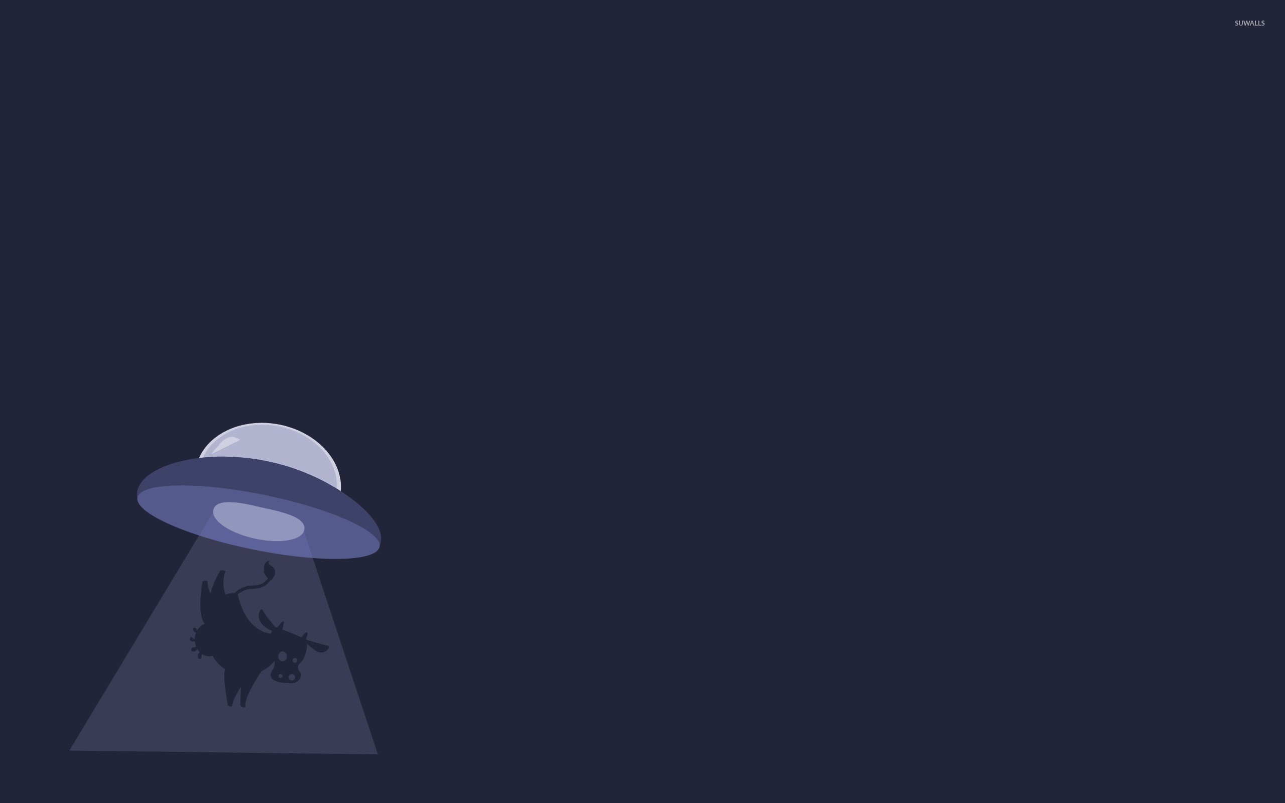 2560x1600 UFO abducting a cow wallpaper