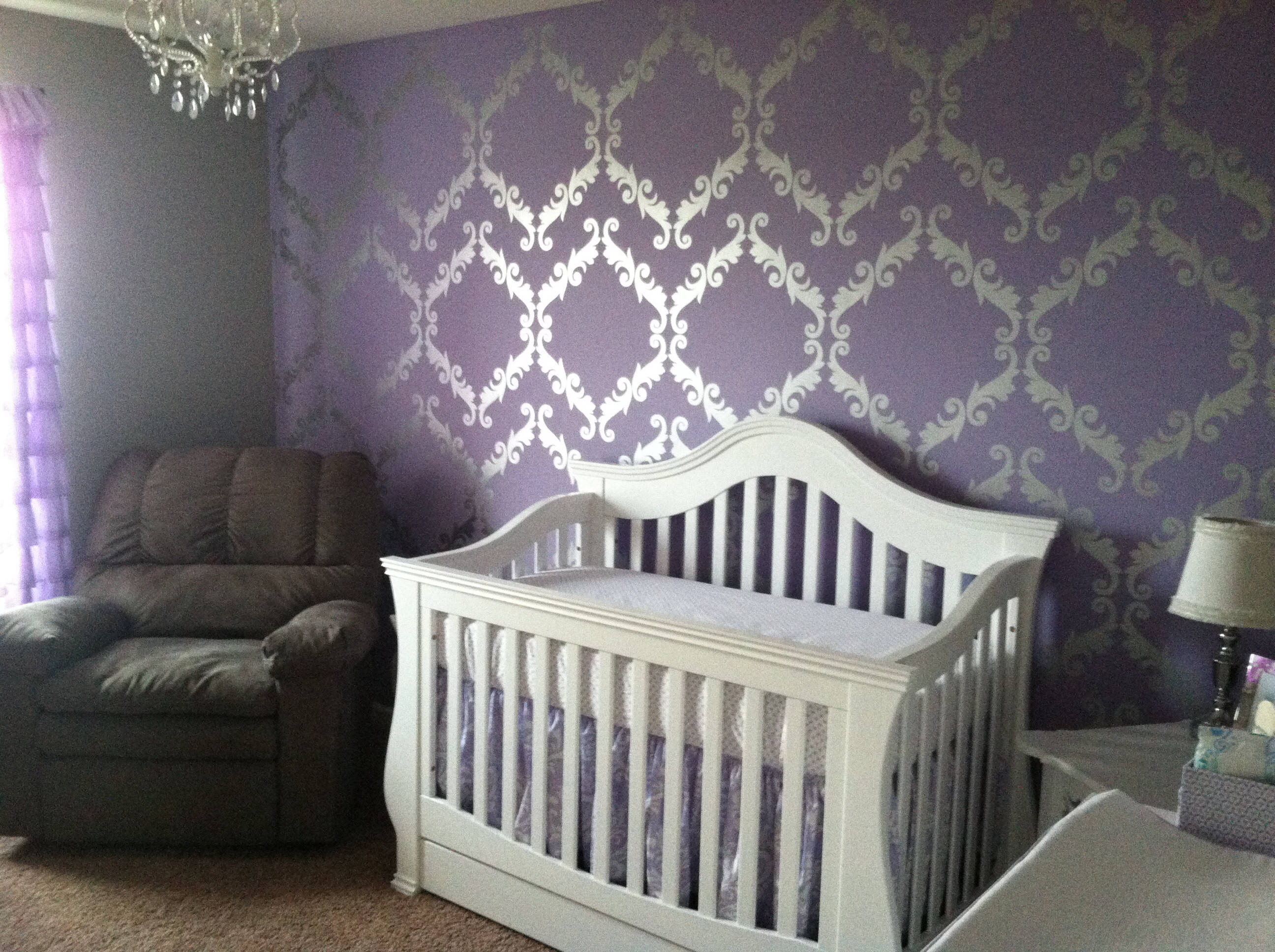 2592x1936 Purple, metallic silver and white baby girl's nursery