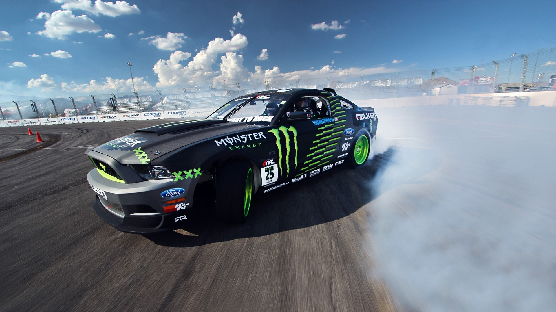 1920x1080 Preview wallpaper competition, drift, sports car, mustang, clouds, ford, gt