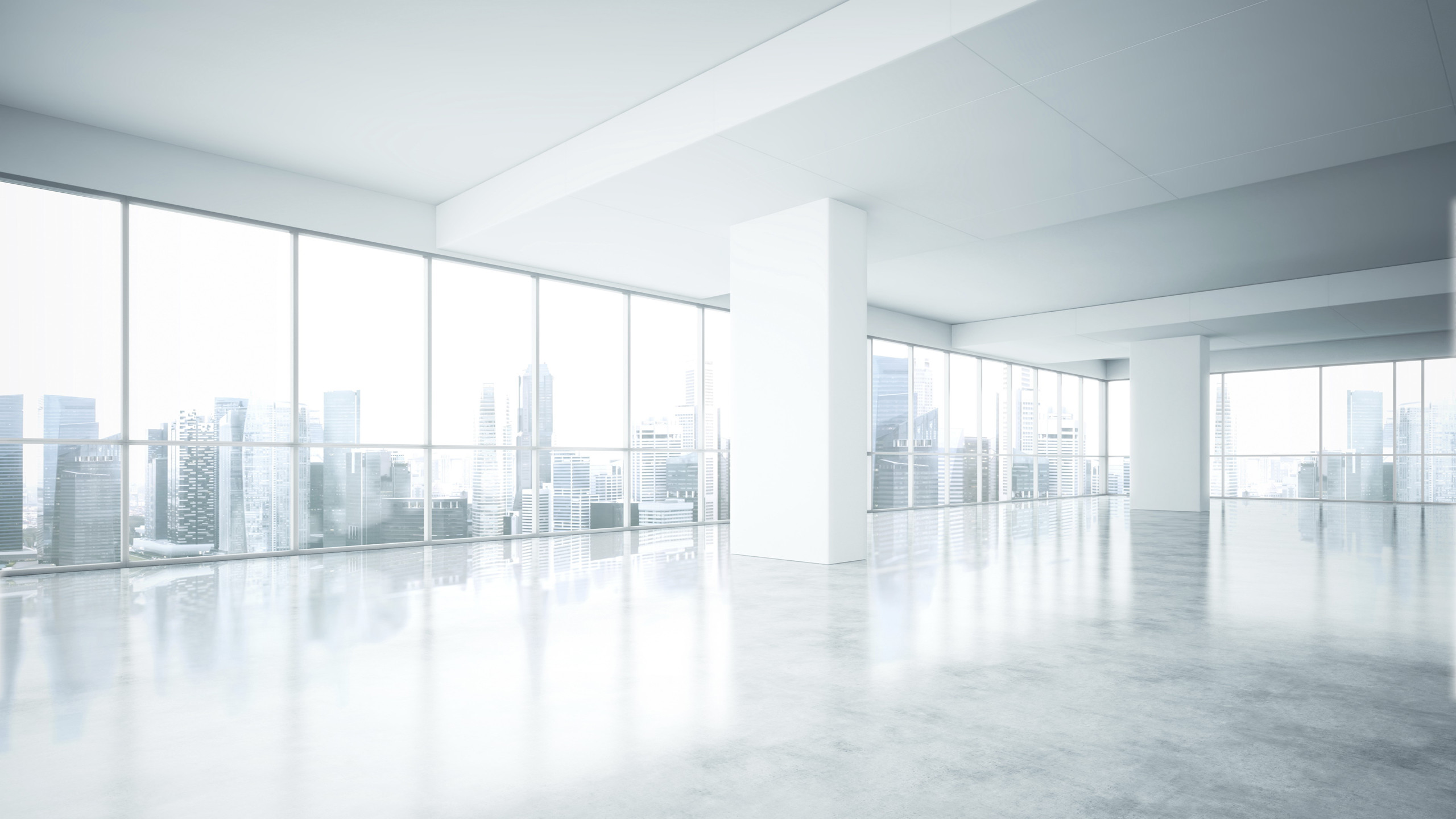 2560x1440 Empty white office interior with city view
