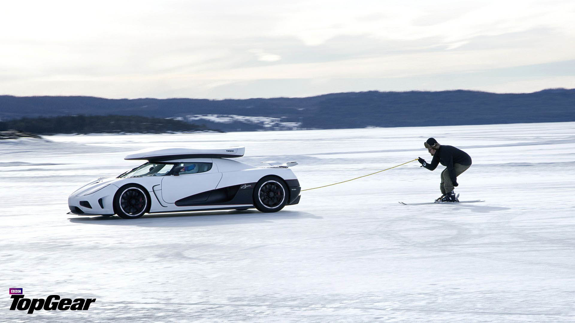 1920x1080 Amazing Skiing with the Koenigsegg Agera R  wallpaper