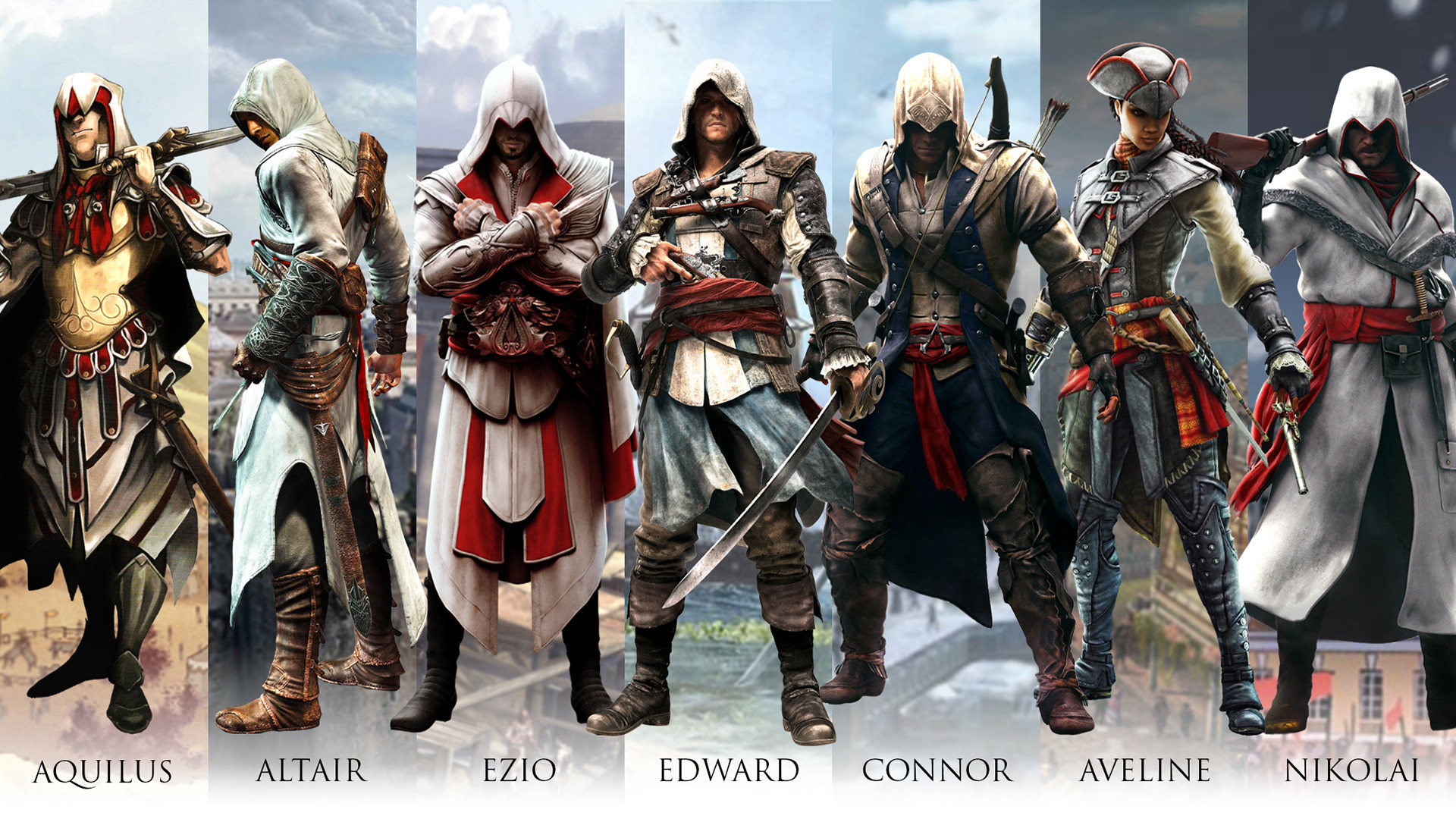 1920x1080 ... All hero in Assassin's Creed series by santap555