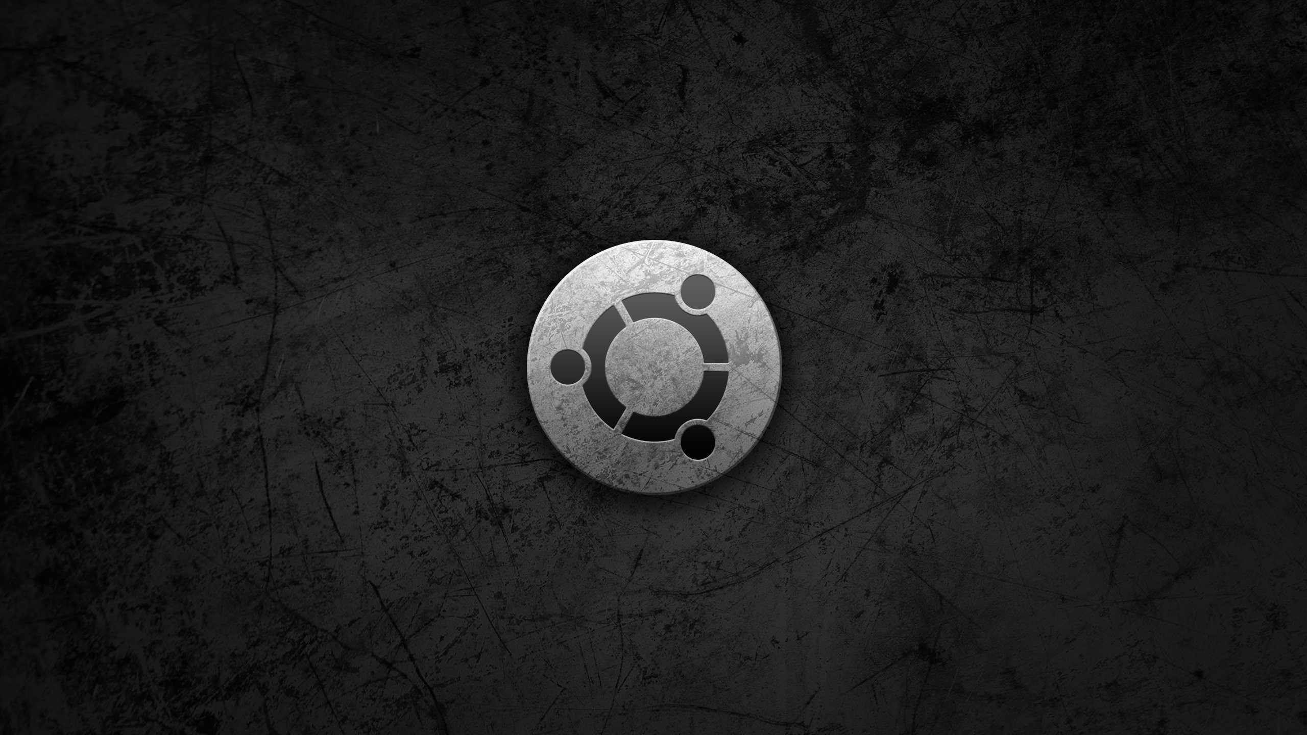 2560x1440 Preview wallpaper ubuntu, gray, black, circle, logo, symbol
