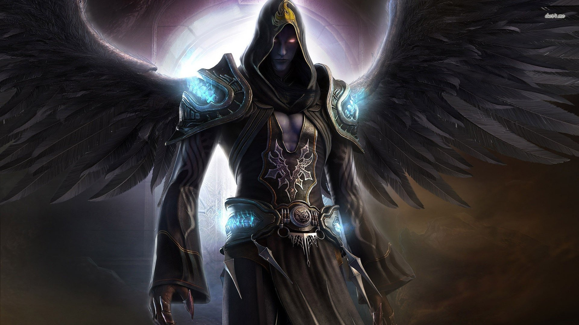 1920x1080 Dark Angel Wings Fantasy Magician Force Angels Red Eyes Night Shadow Last  Chaos