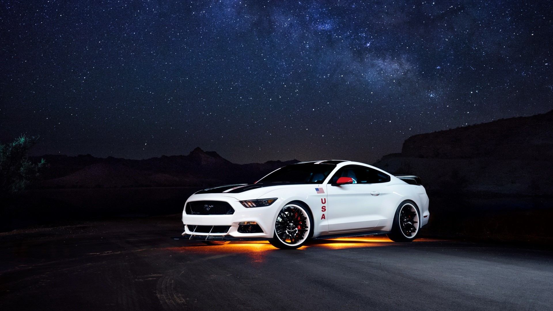 1920x1080 Preview wallpaper ford, mustang, white, side view, night