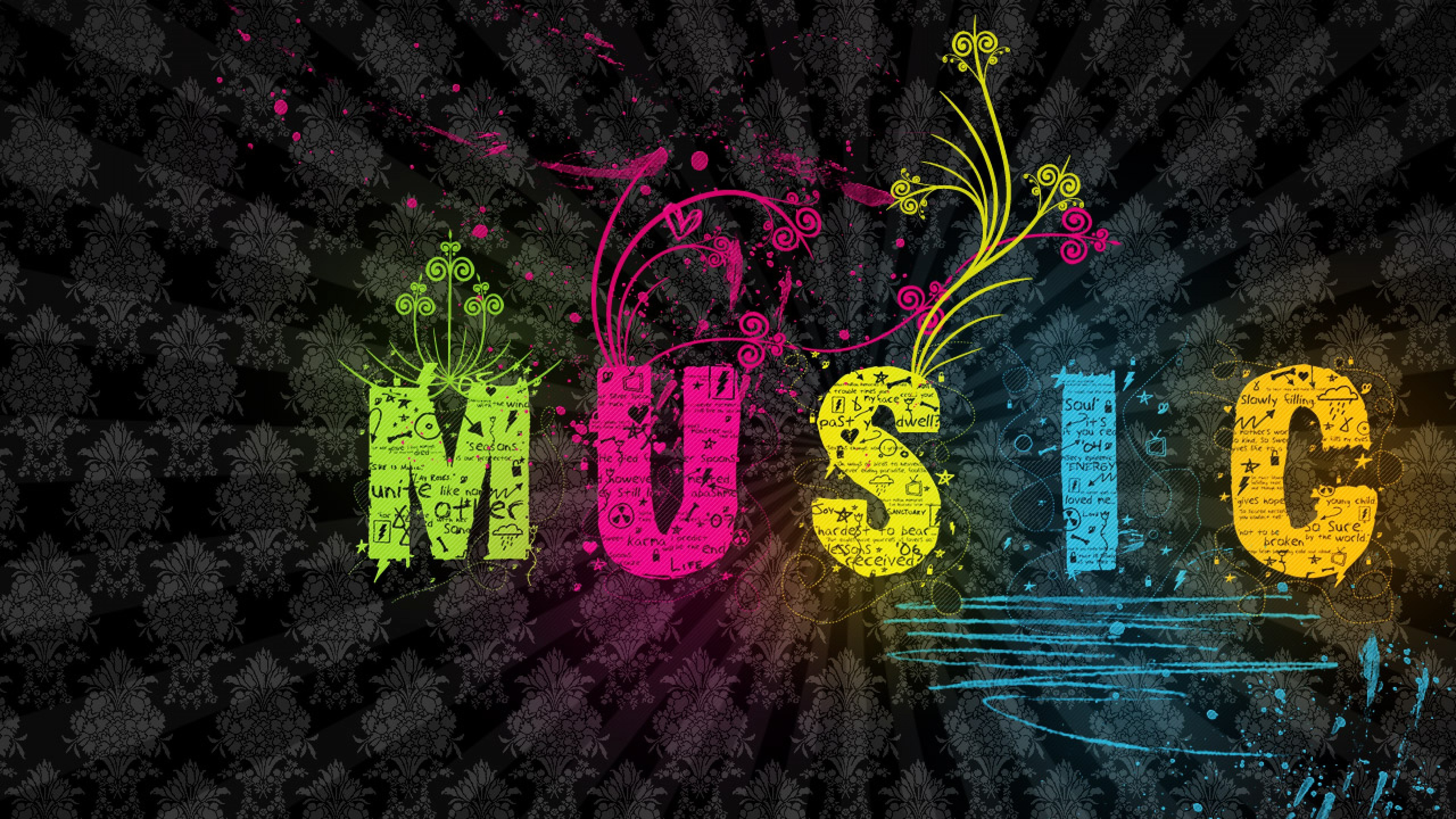 3840x2160 Colourful Music Background Wallpaper for Desktop and Mobiles - 4K Ultra HD