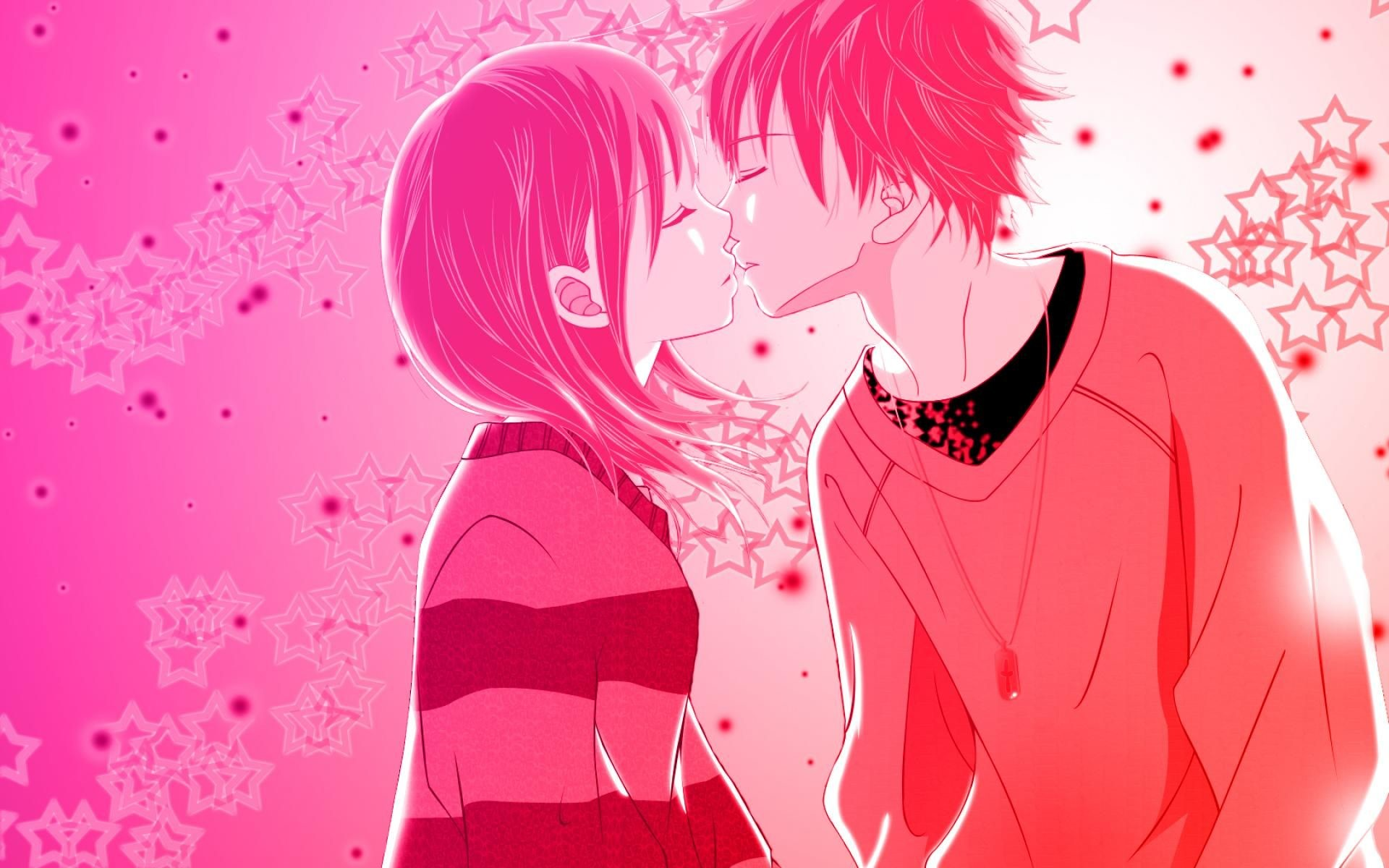 1920x1200 love anime kiss pink wallpaper