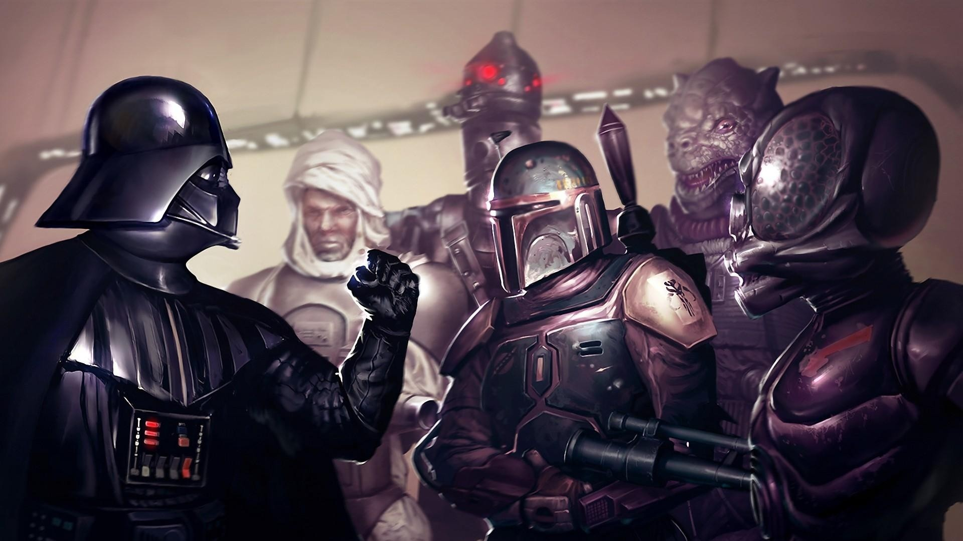 1920x1080 Preview wallpaper star wars, darth vader, boba fett, fist