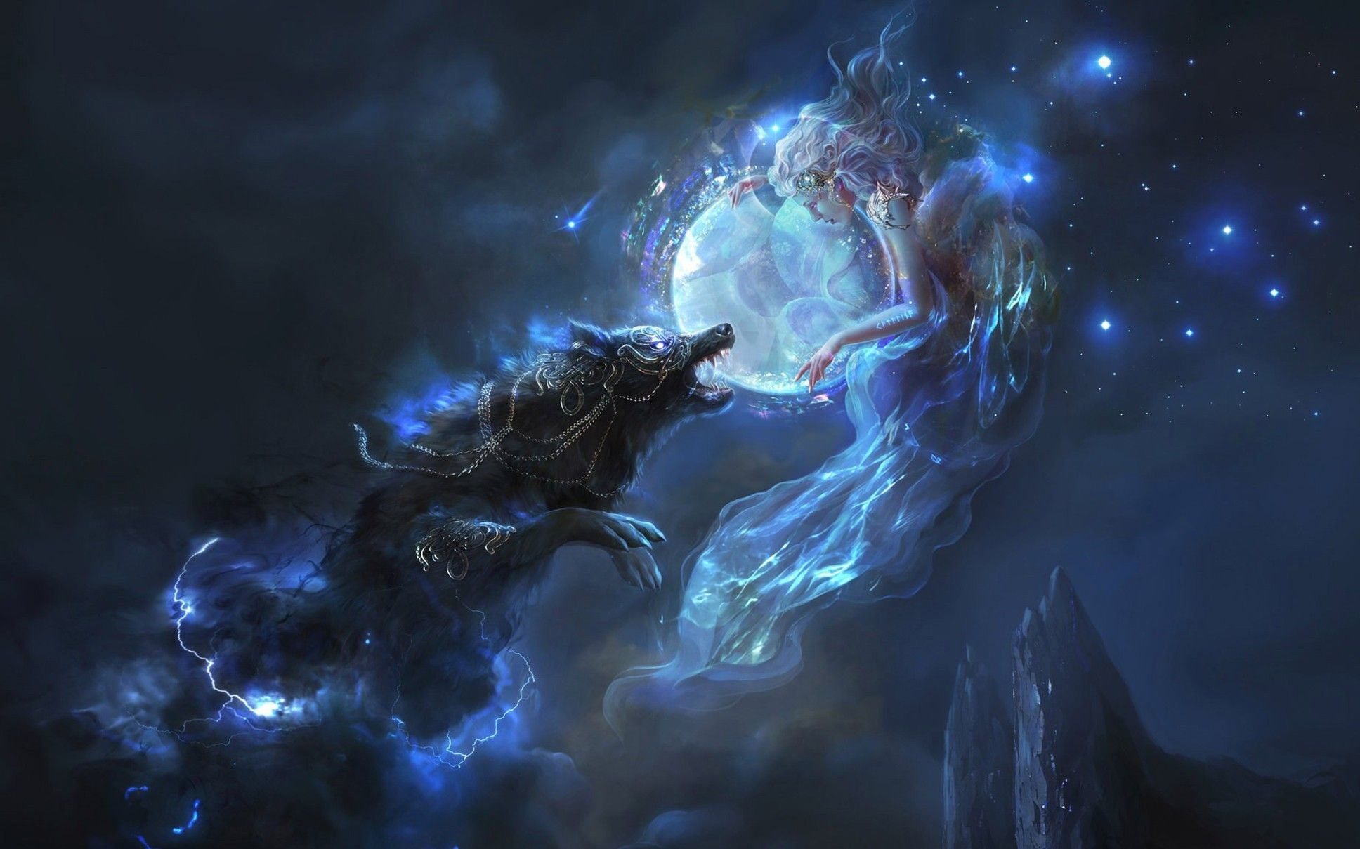 1936x1209 wolf fantasy girl fantasy art artwork wallpaper and background