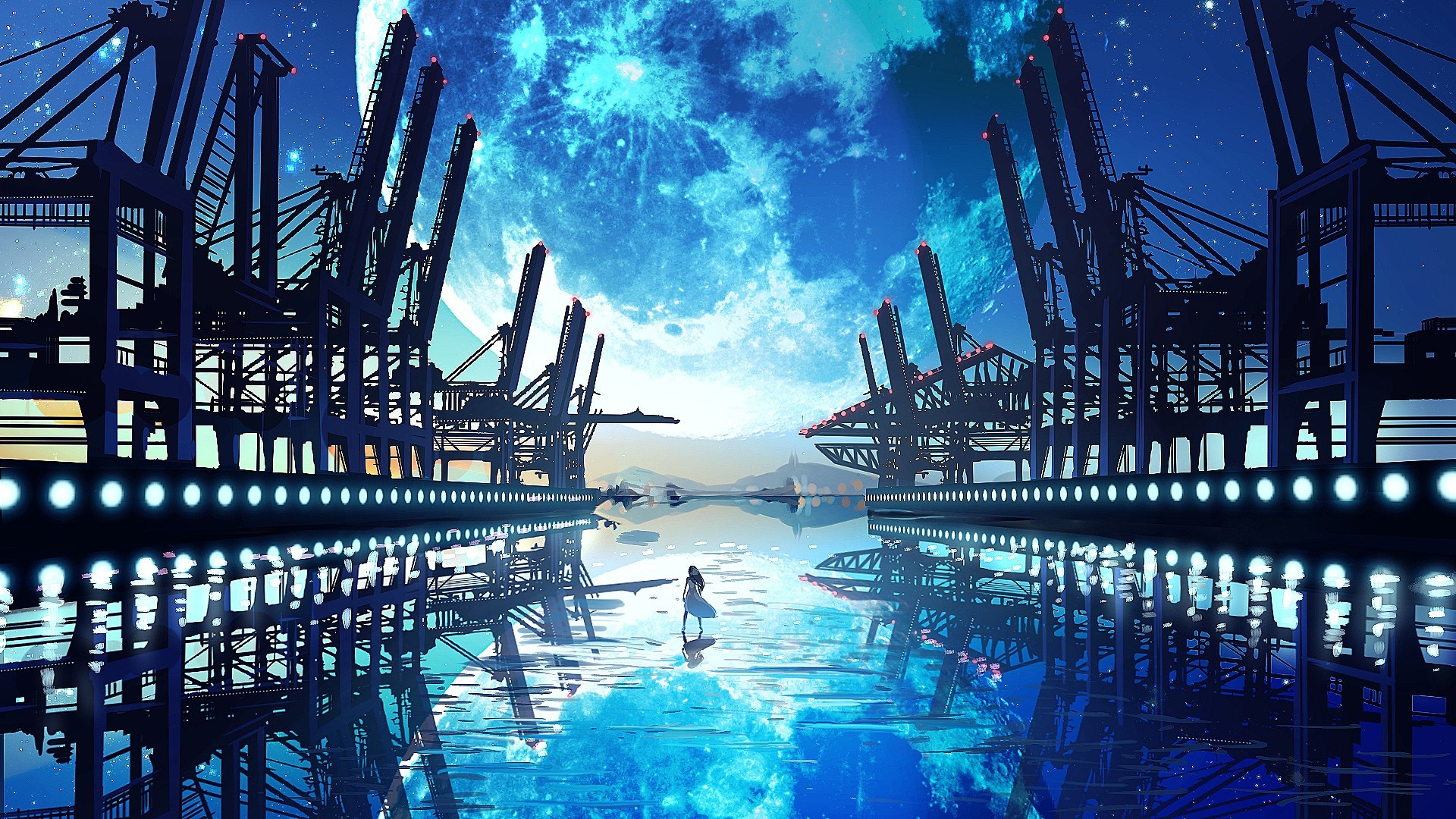 1920x1080 reflection, ports, water, digital anime art, girl 1440x900 wallpaper