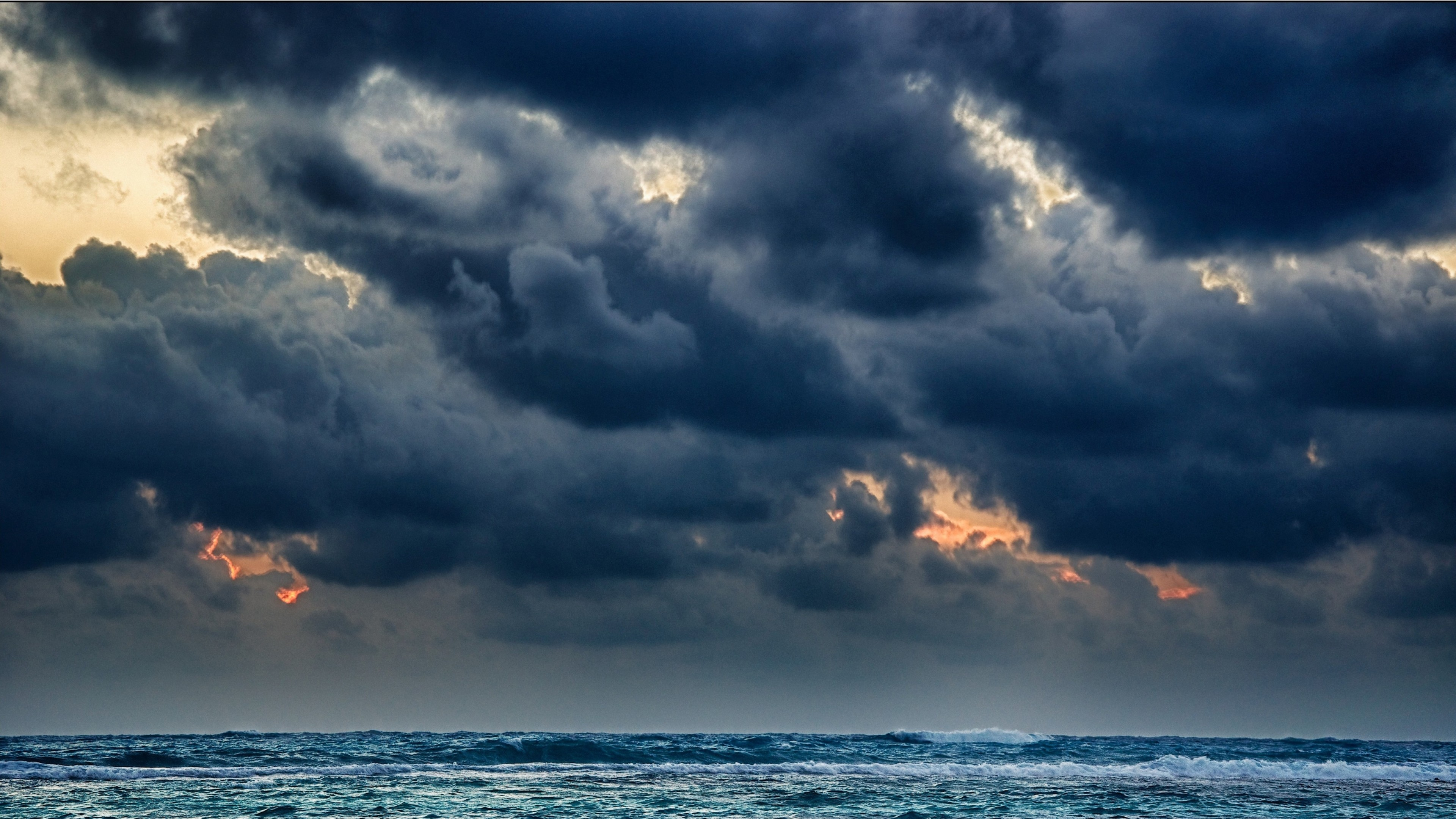 3840x2160 Preview wallpaper clouds, sea, storm, gloomy, heavy, elements
