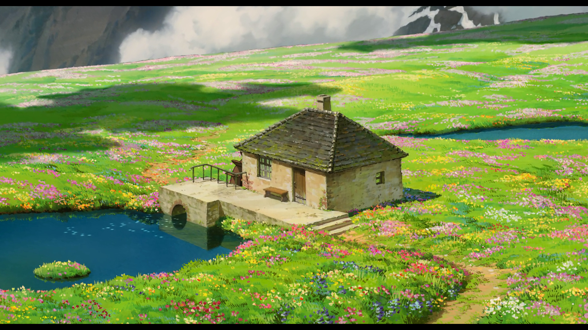 1920x1080 Anime  anime Studio Ghibli landscape house water field cottage  flowers peaceful Howl's Moving Castle