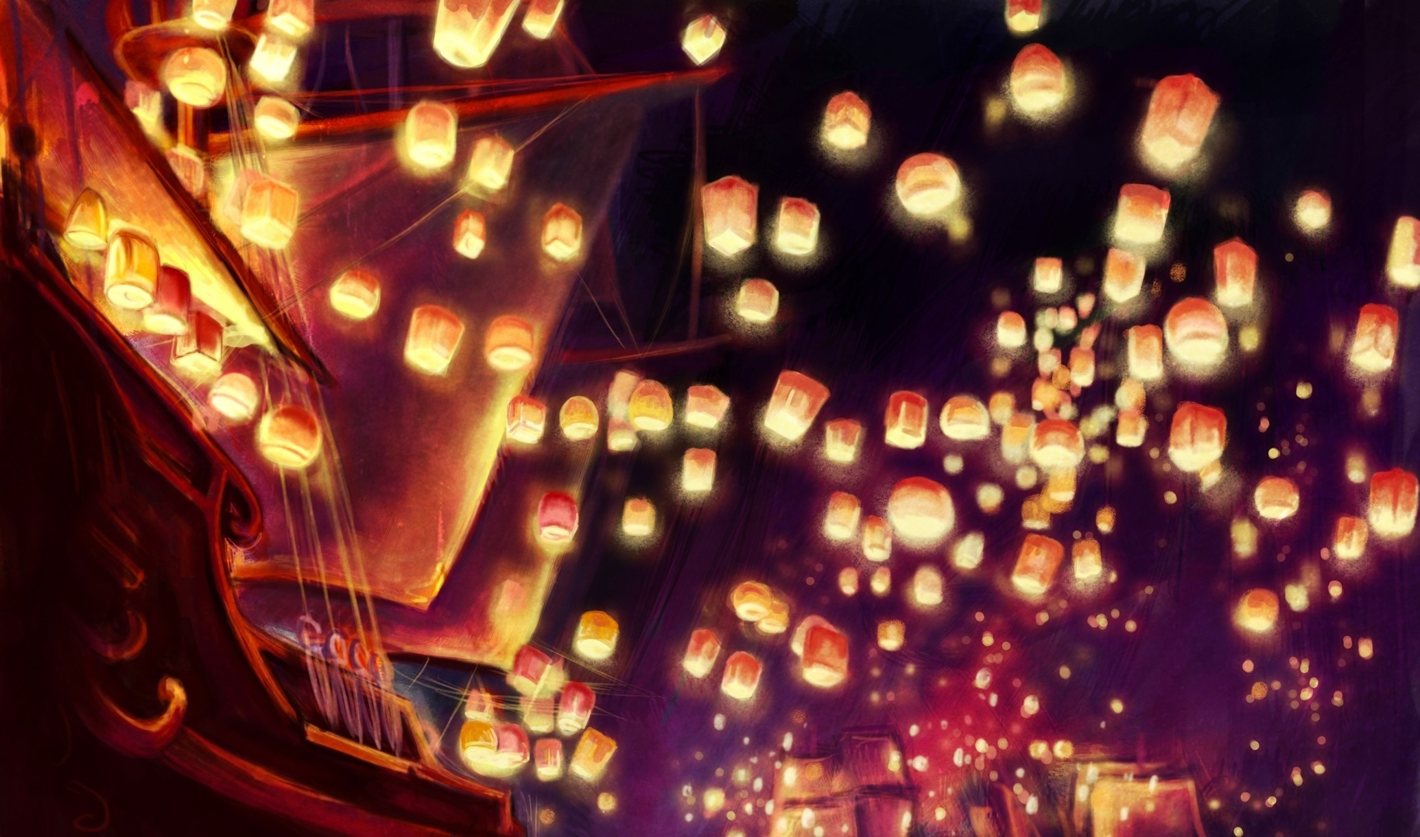 Floating Lanterns Desktop Wallpaper