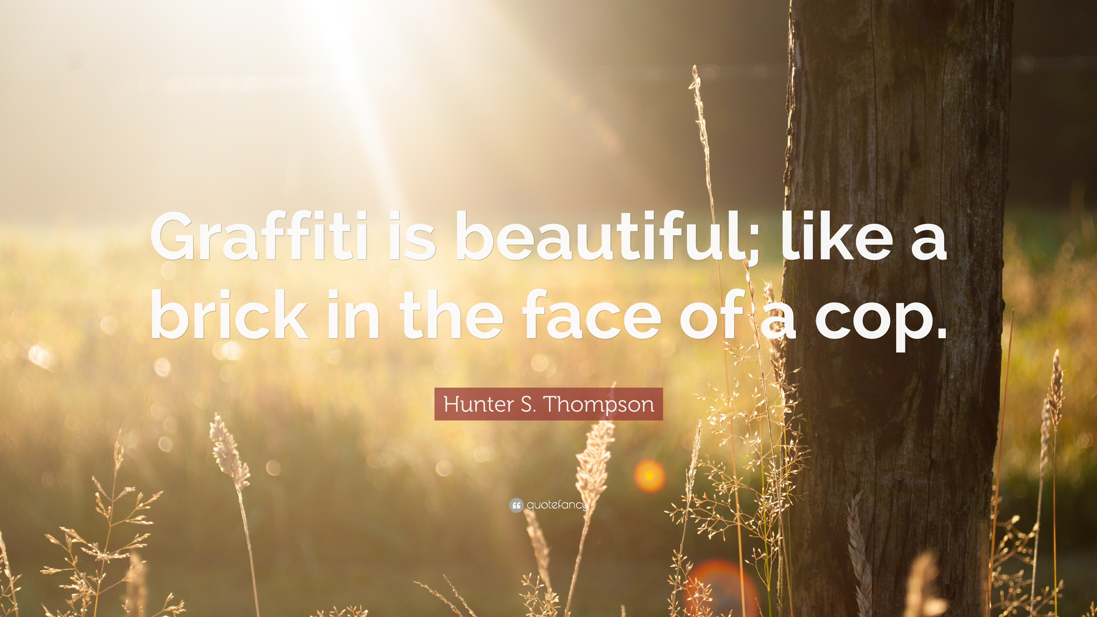 "3840x2160 Hunter S. Thompson Quote: ""Graffiti is beautiful; like a brick in the"