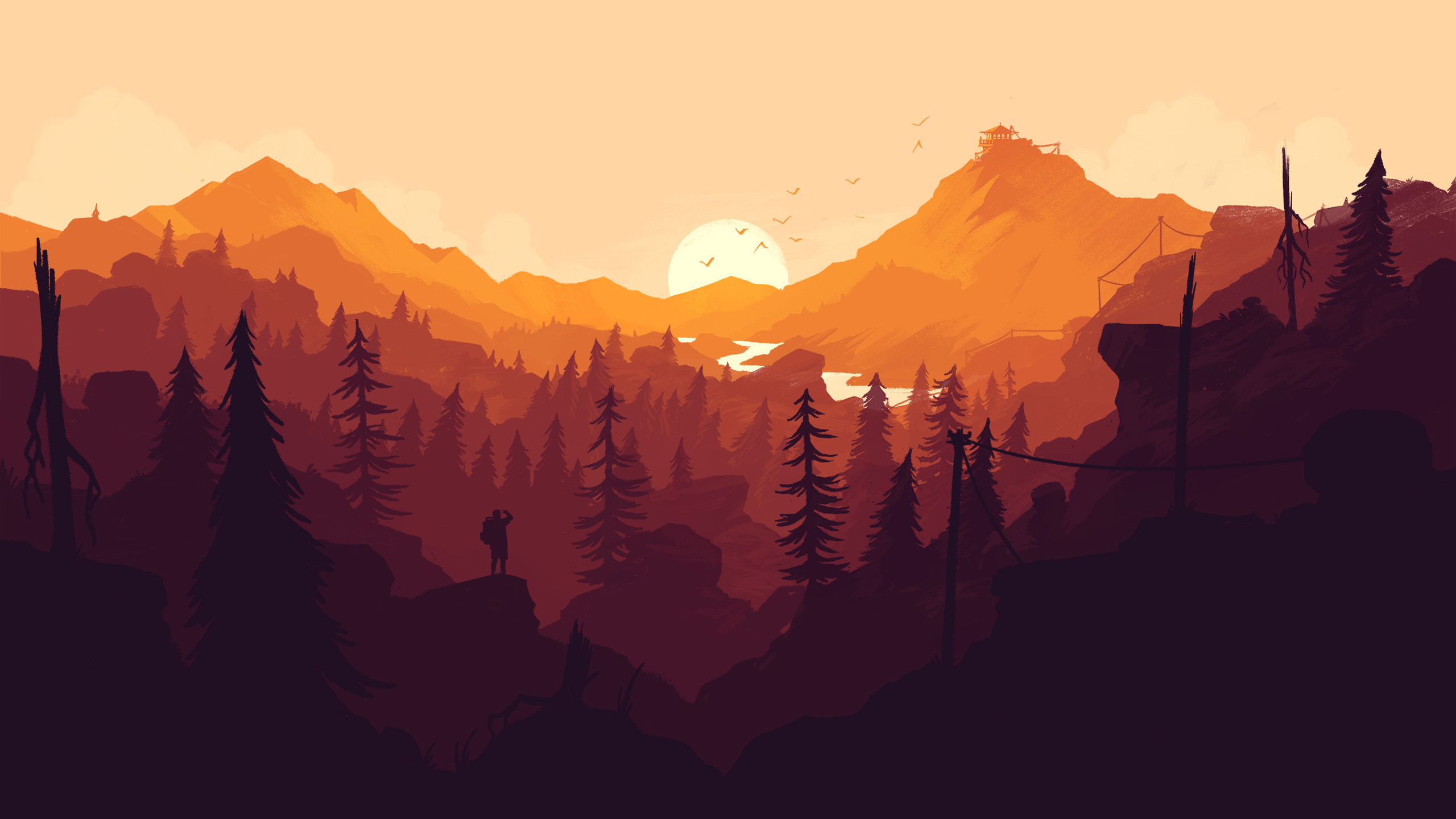 2560x1440 Firewatch videogame wallpaper. Colorful landscape wallpaper, mountains,  forest, trees, nature,