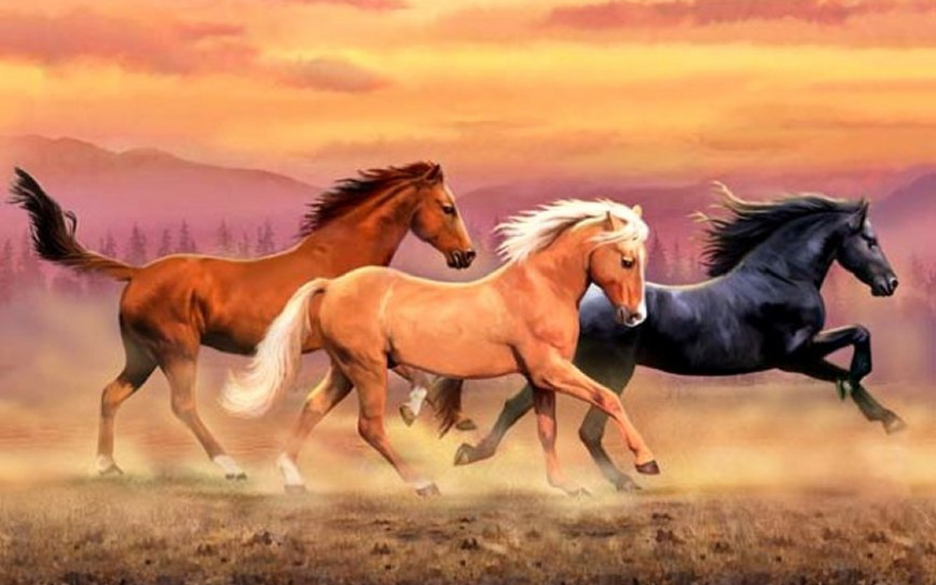 1920x1200 Mountains Wild Horses Dust wallpapers and stock photos