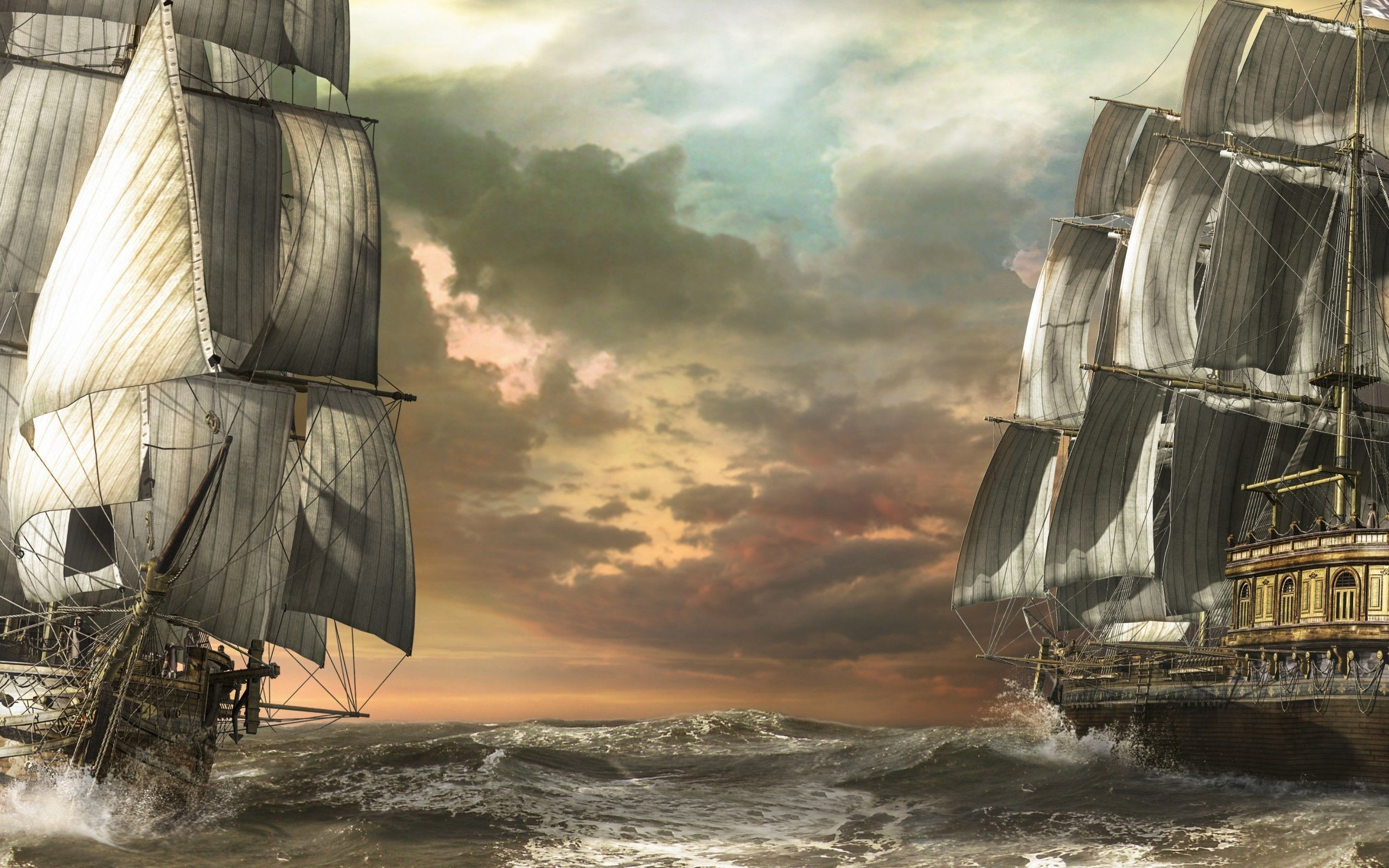 2560x1600 Pirate ships wallpaper