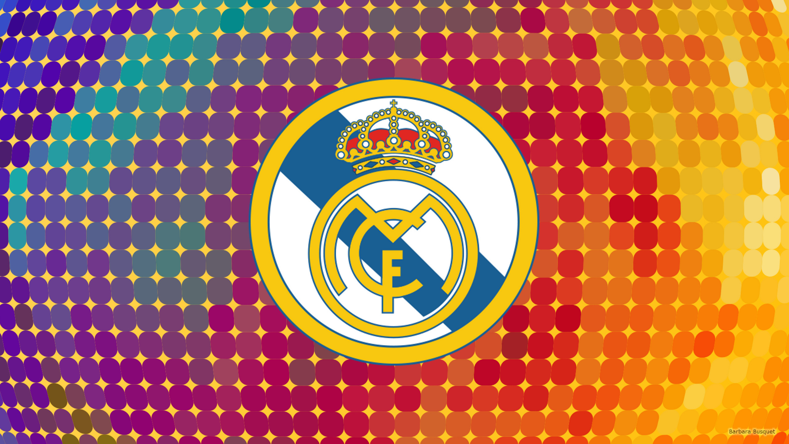 2560x1440 Colorful Real Madrid logo wallpaper