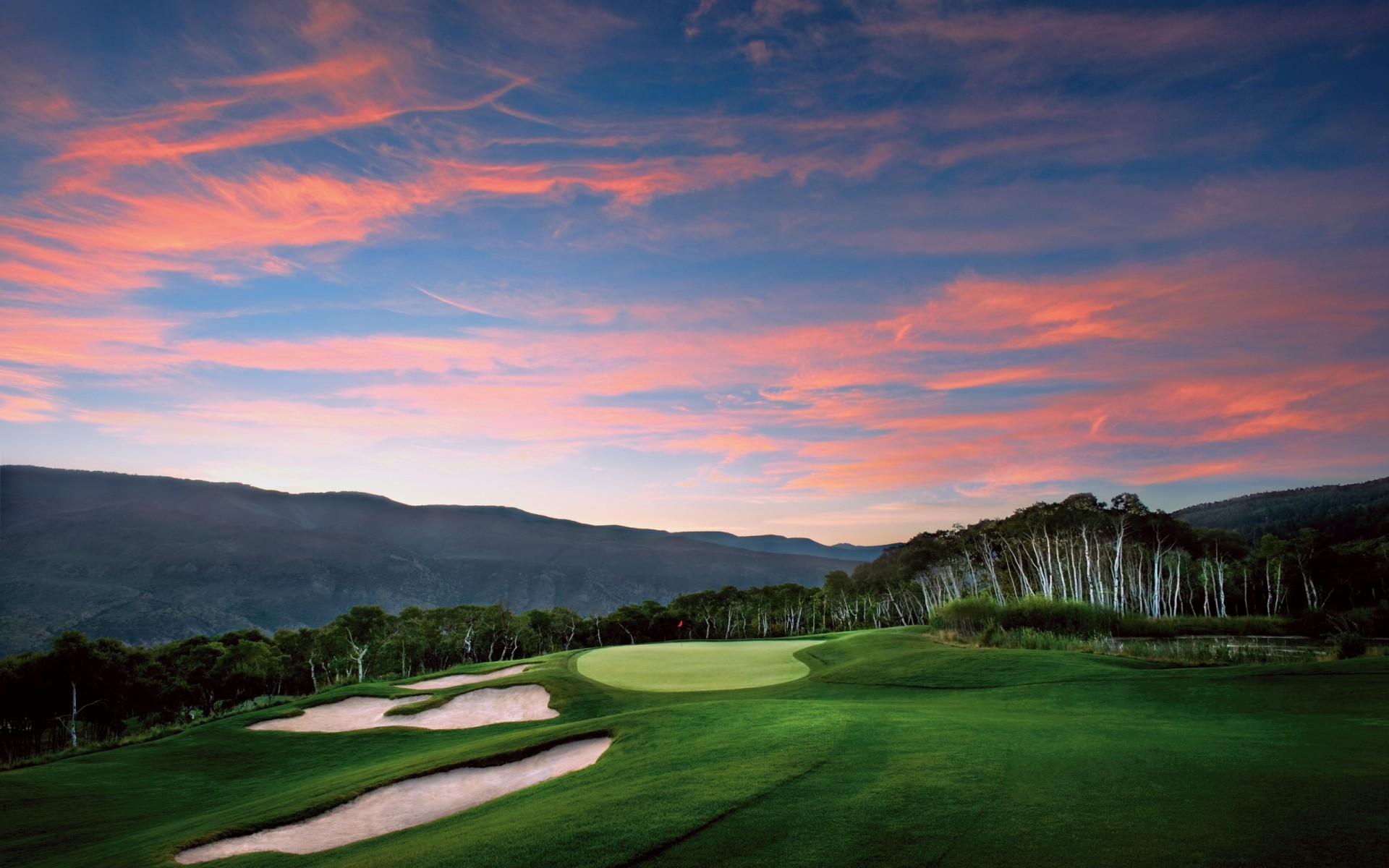 1920x1200 Pretty Golf Courses Pink Sky wallpapers and stock photos