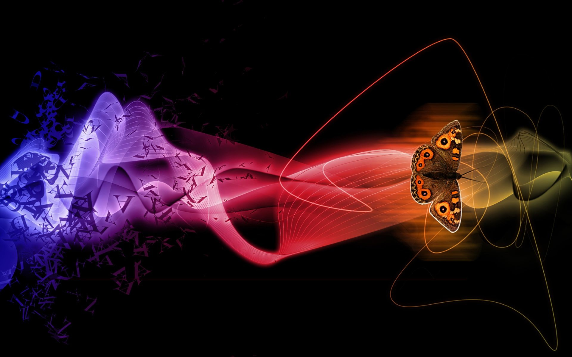 1920x1200 Abstract Butterflies With 3D Color S…