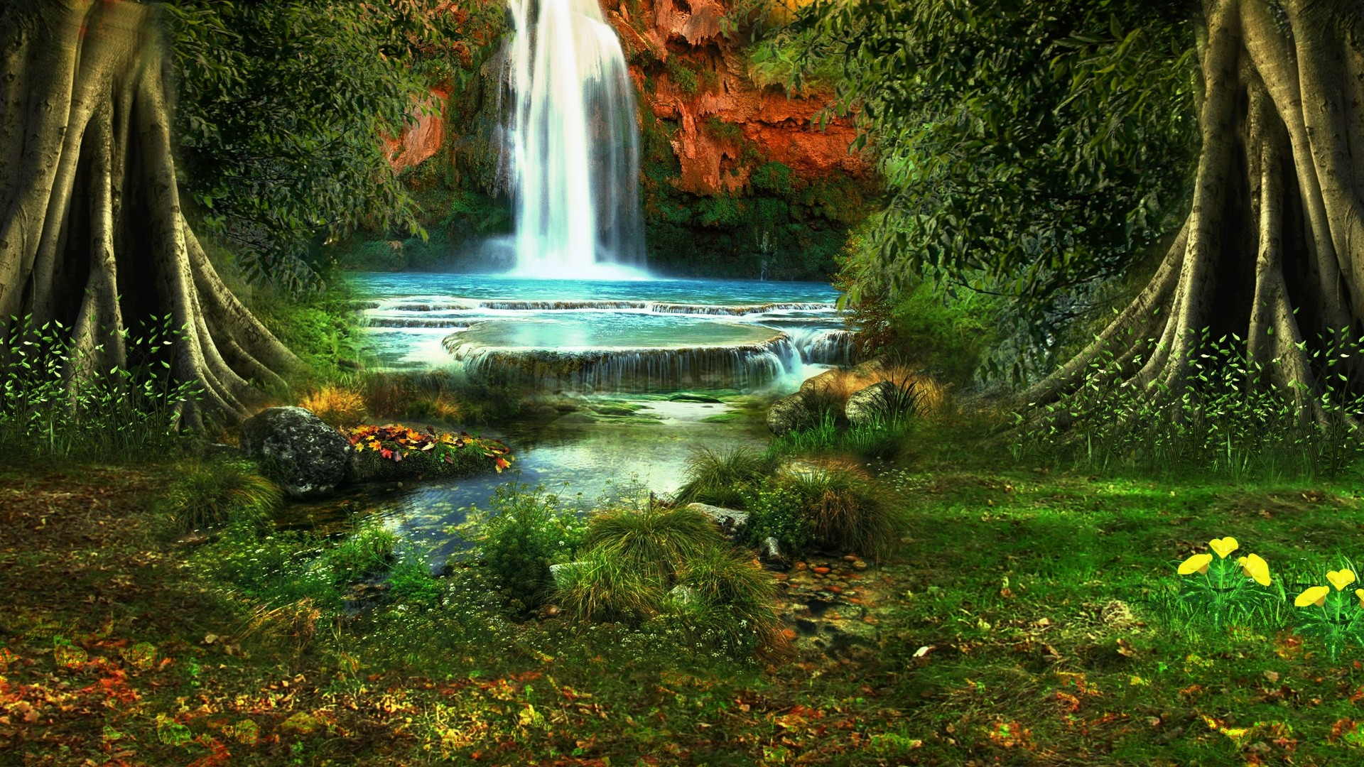 1920x1080 Download Wallpaper  waterfall, trees, vegetation, nature, landscape  Full HD 1080p HD Background