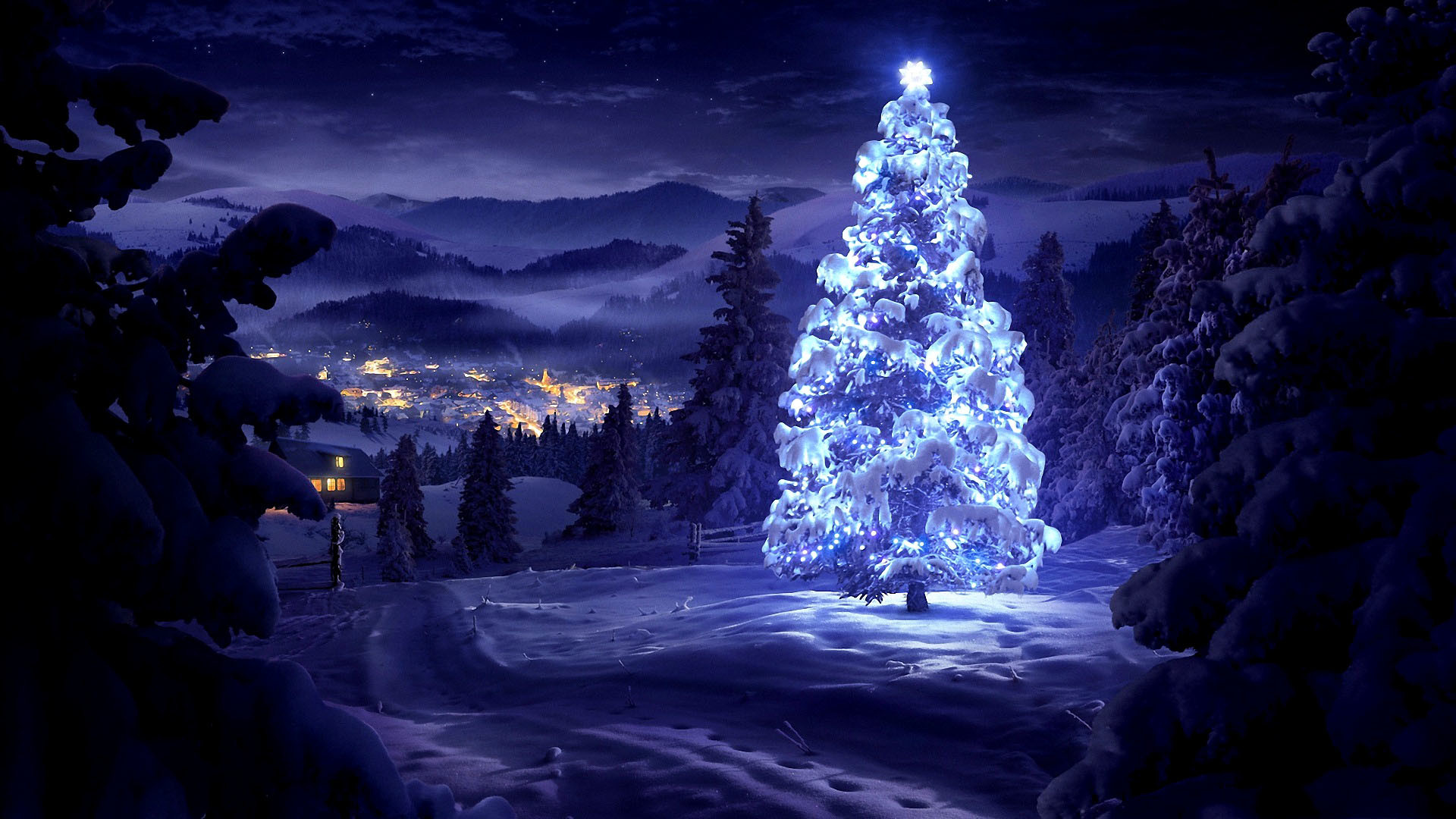 1920x1080 Merry Christmas Tree Wallpaper