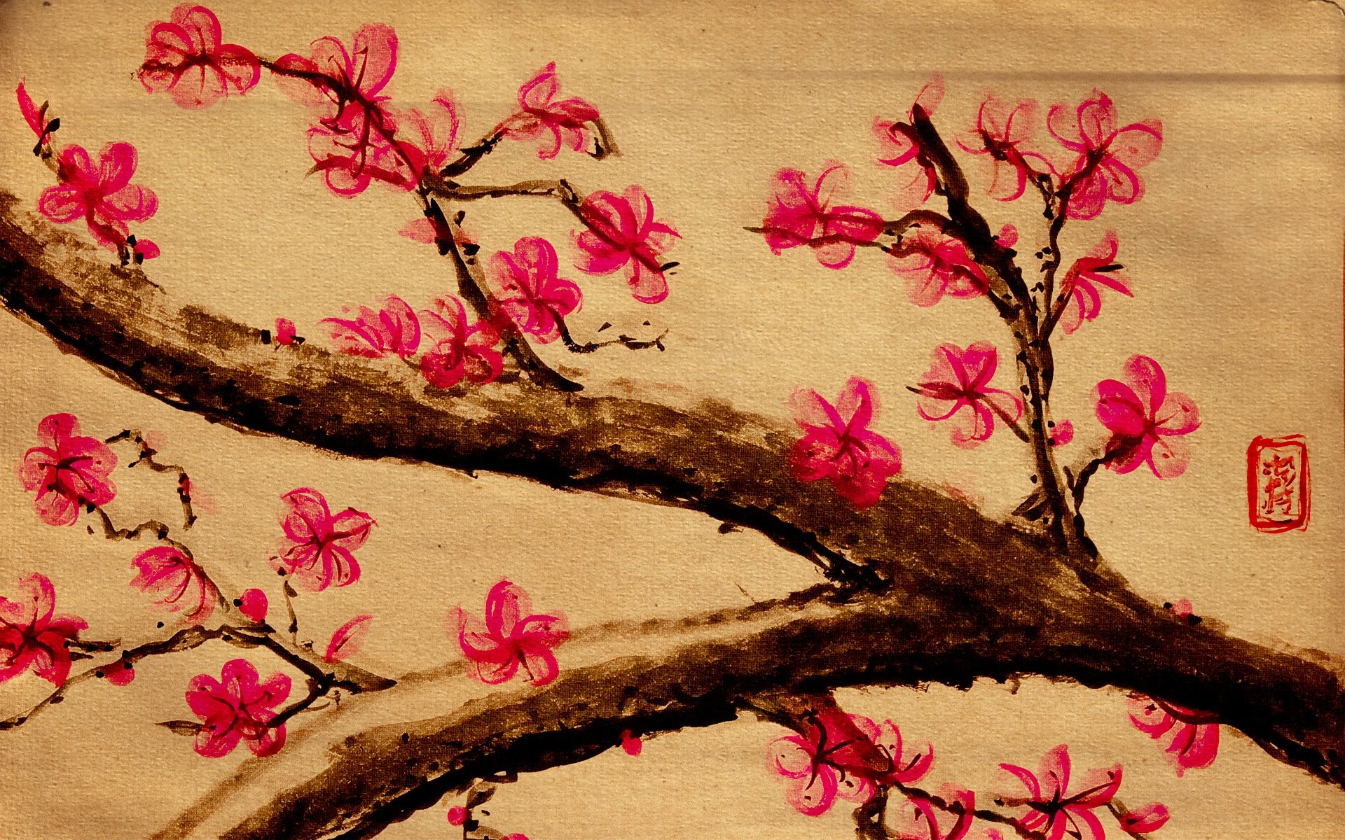 1920x1200 Cherry Blossom Paintings