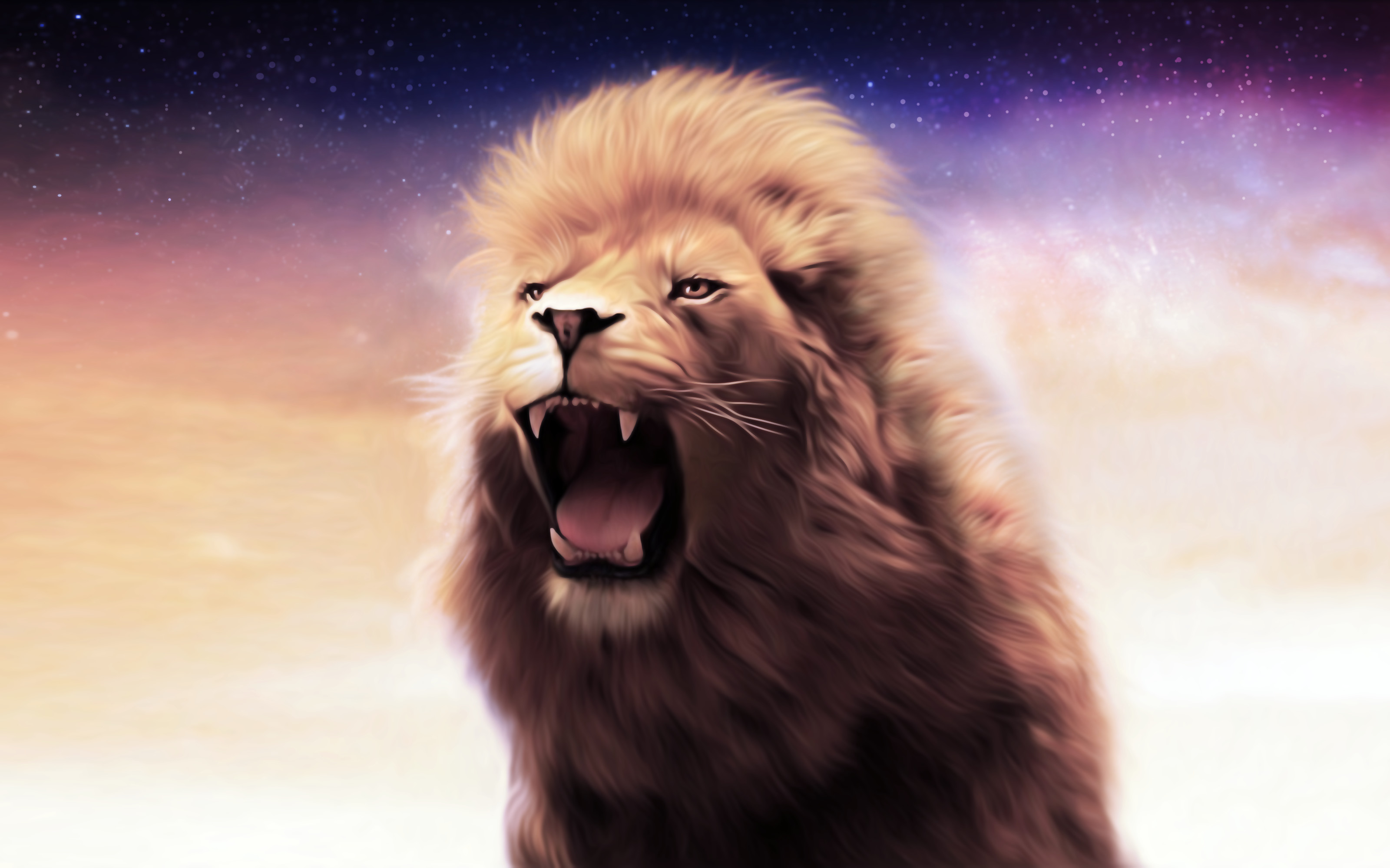 Lion roaring wallpaper widescreen
