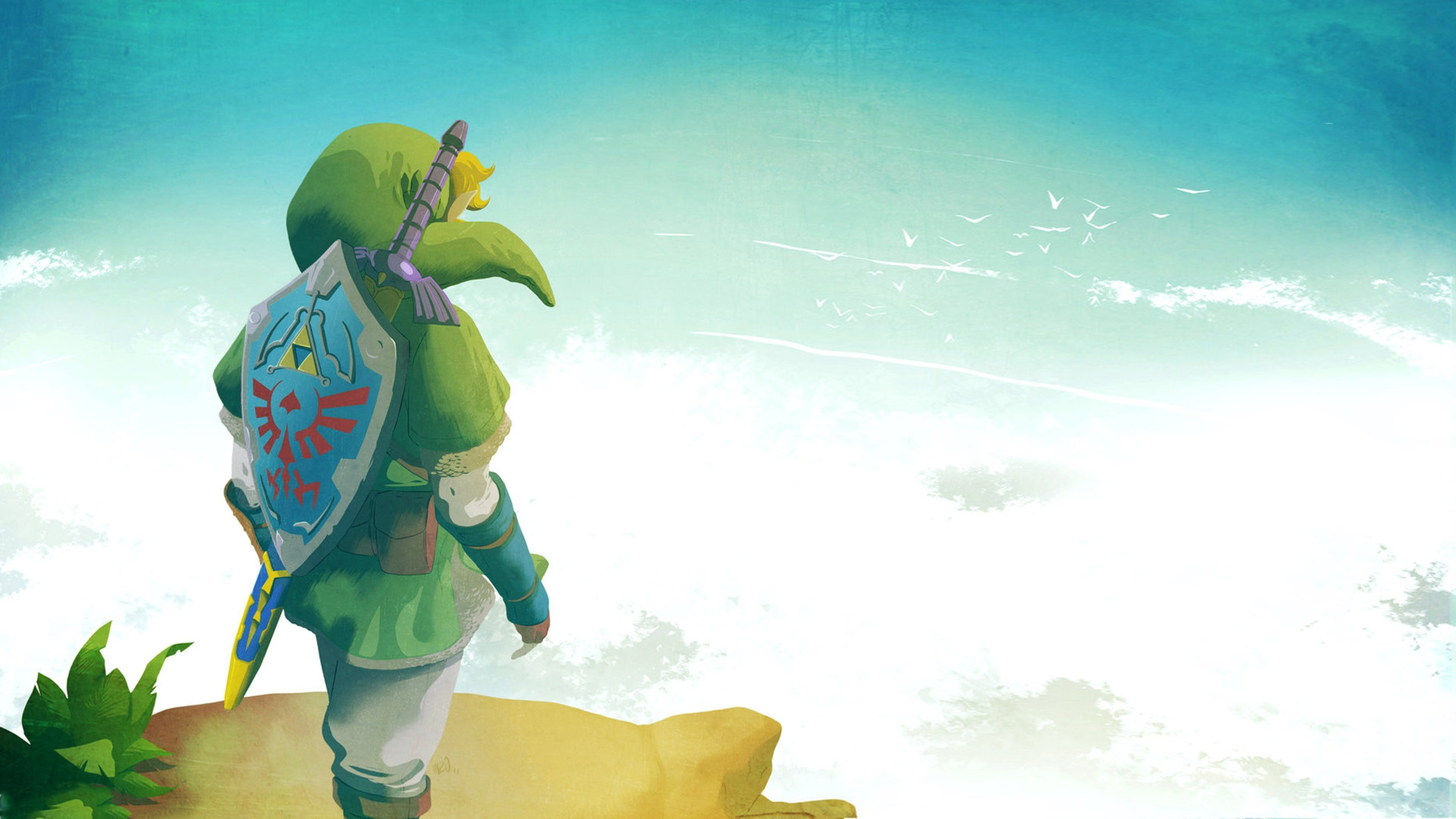 3840x2160 Wallpaper The Legend Of Zelda Elf Shield Sky Link 4K