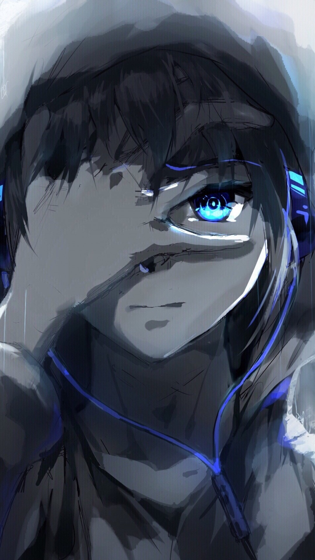 1080x1920 Anime Boy, Hoodie, Blue Eyes, Headphones, Painting