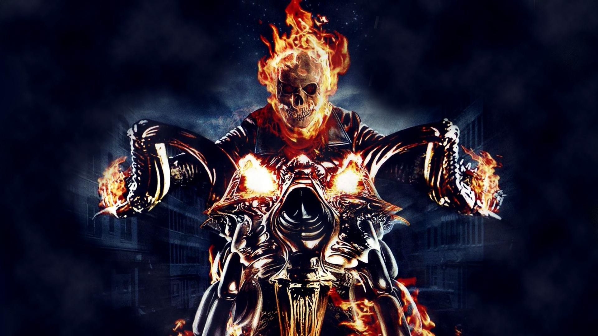 1920x1080 ghost rider, motorcycle, fire