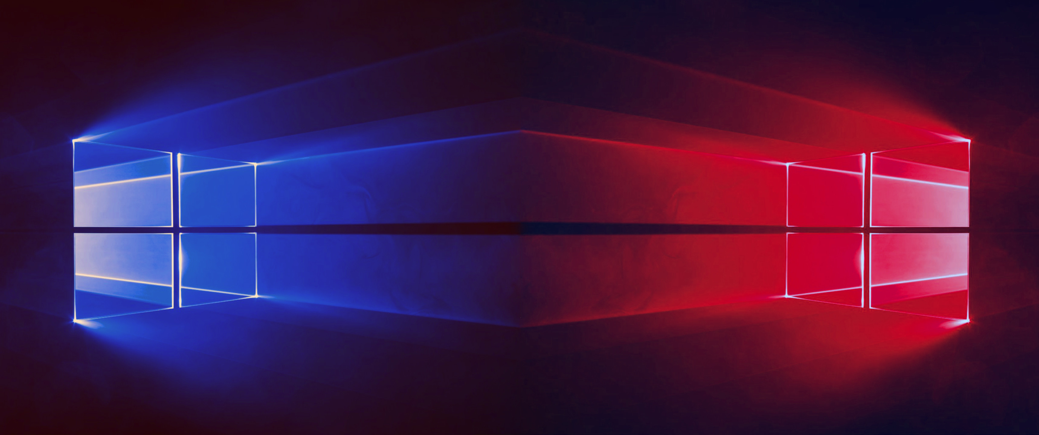 3440x1440 Windows 10 - 2 Windows Blue & Red -