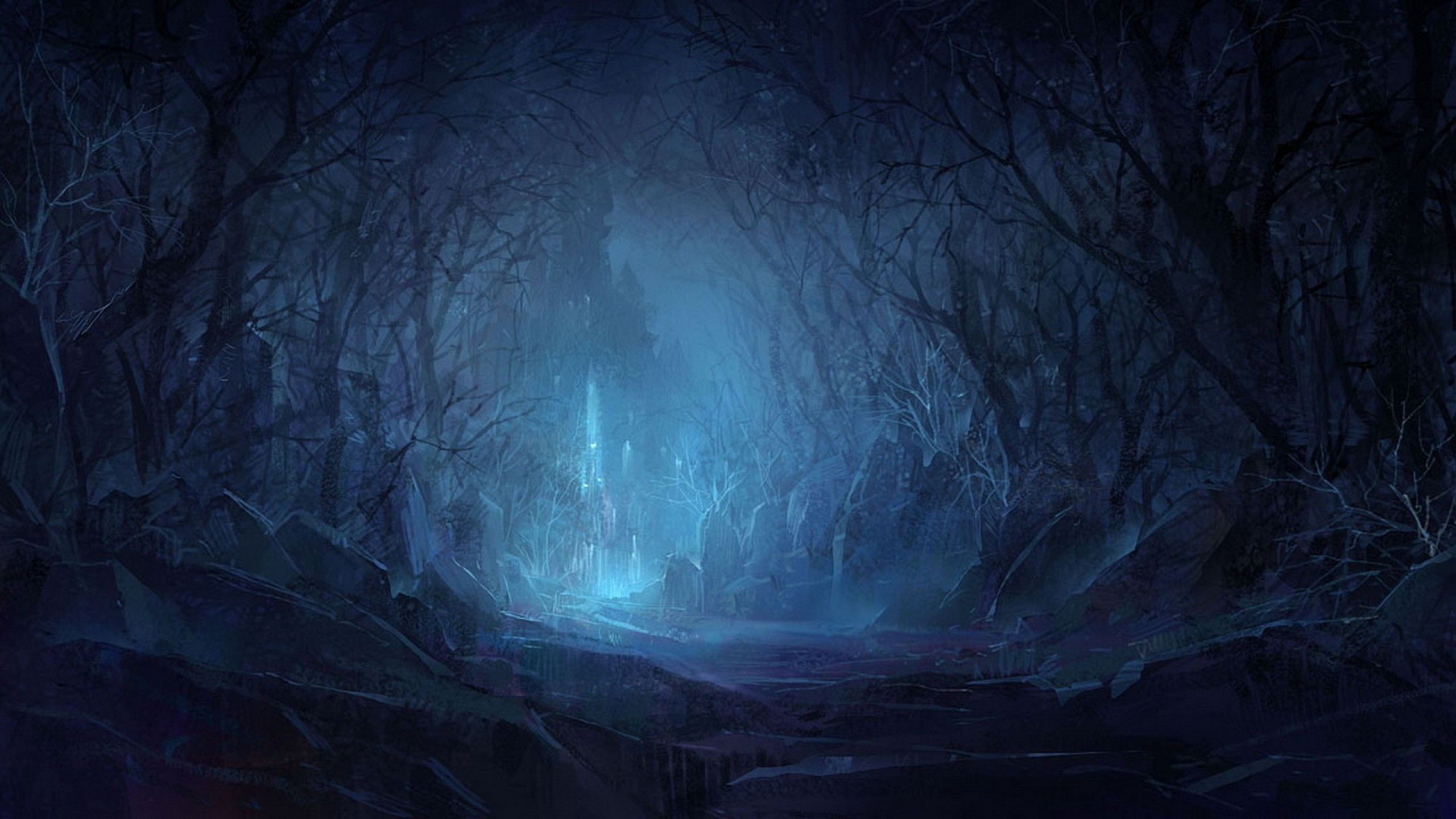 2880x1800 Tombstone Dark Halloween Trees Forest Woods Night Scary Spooky Creepy Glow Cemetery Grave Landscapes Wallpaper At Wallpapers