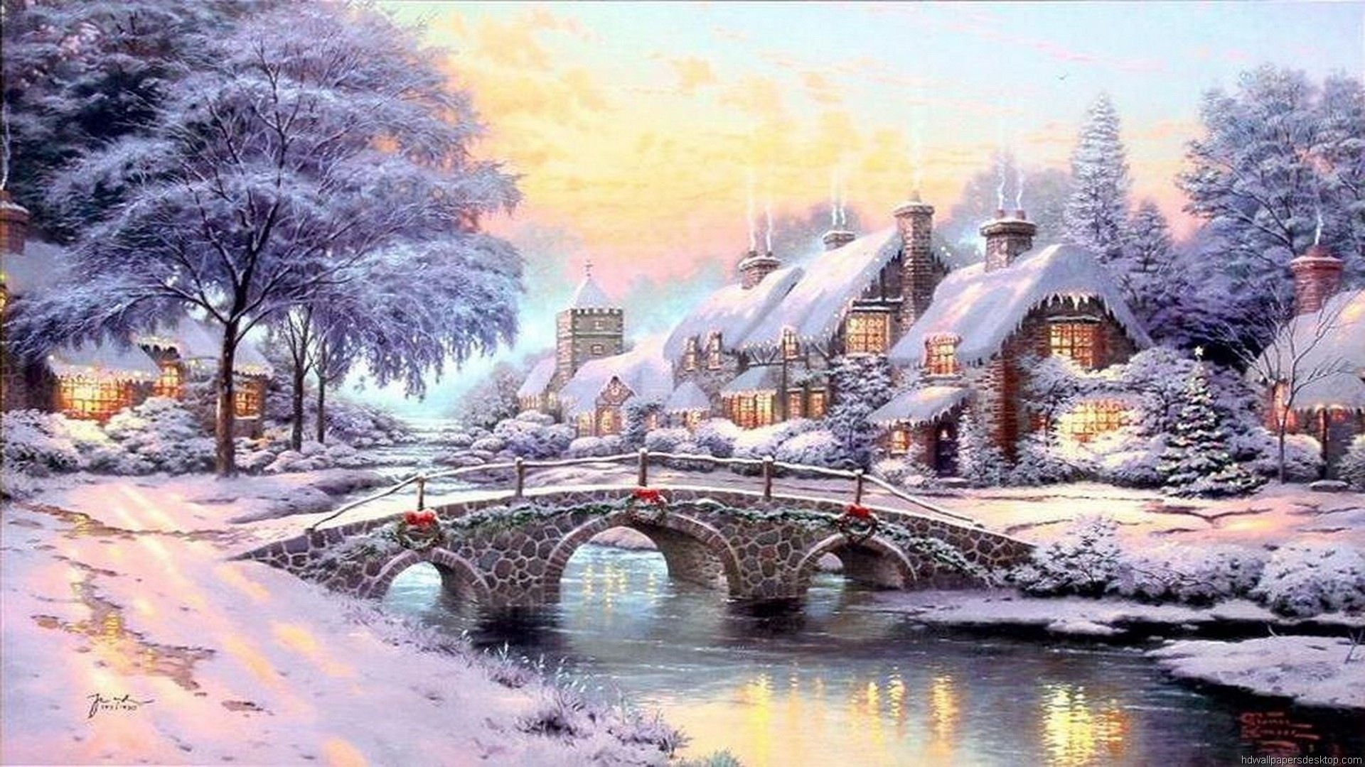 1920x1080 Awesome Thomas Kinkade Christmas Village Wallpaper Free download best  Latest 3D HD desktop wallpapers background Wide