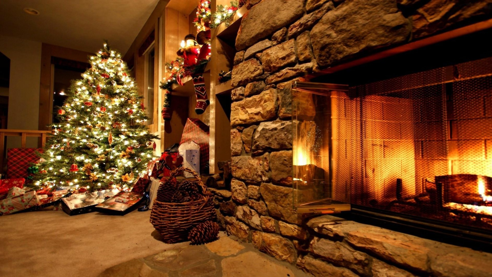 1920x1080  Wallpaper christmas tree, ornaments, fireplace, gifts, home,  cosiness, garland