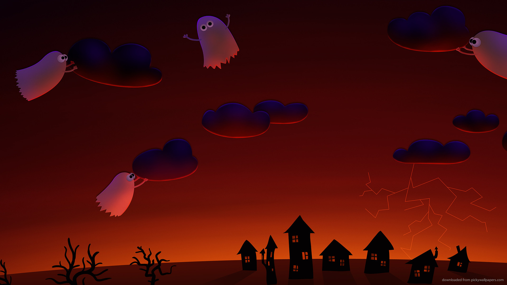 1920x1080 halloween ghosts village cute wallpapers wallpaper holidays