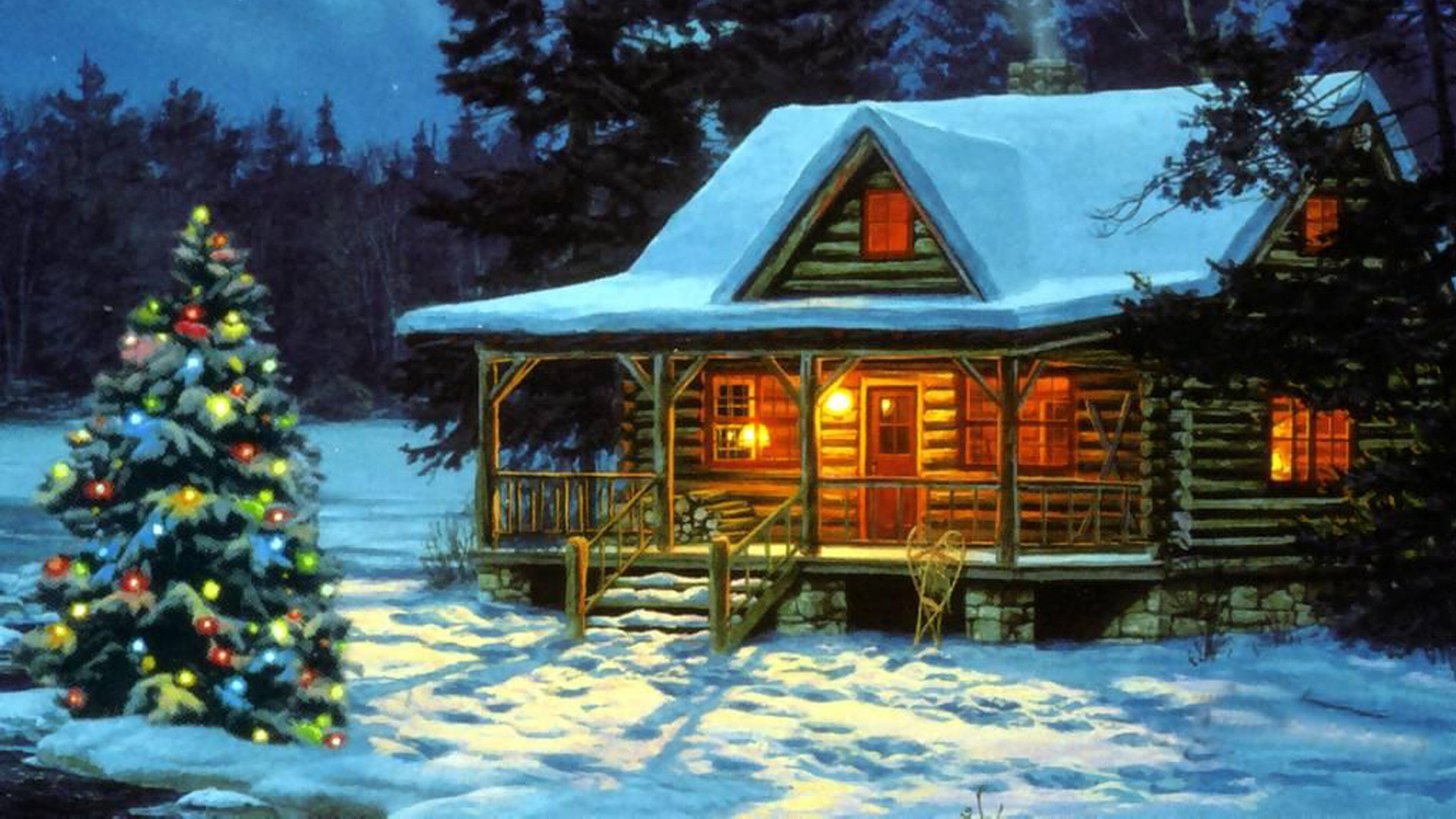 1920x1200 Gordon Lees Art Paintings Christmas Snow Houses Rustic