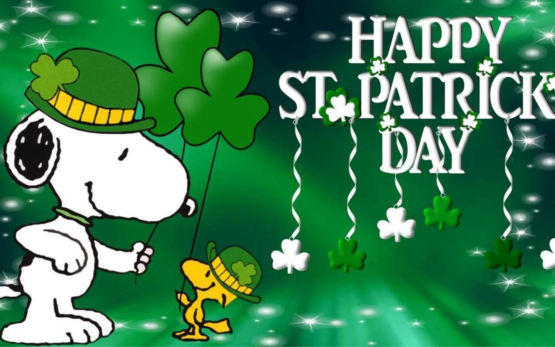 1920x1200 Snoopy St Patrick's Day