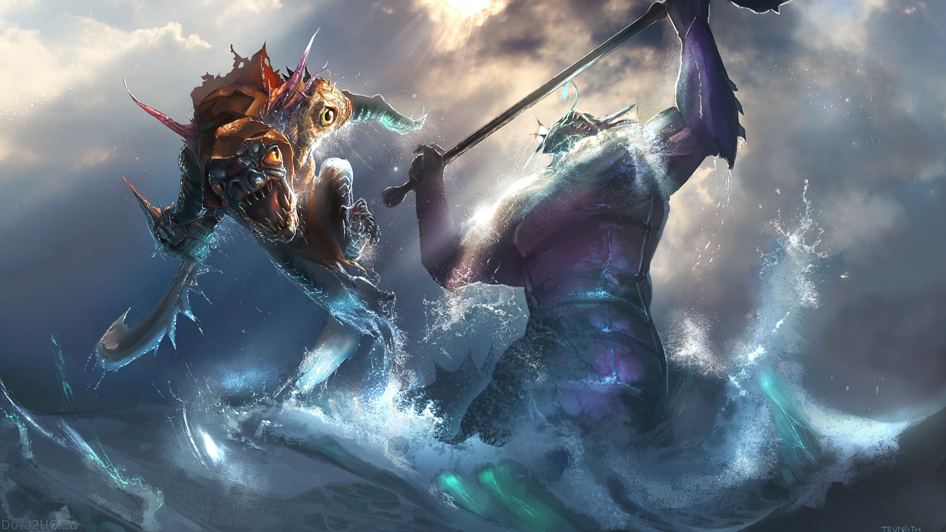 1920x1080 Preview wallpaper amphibians, slark, slardar, dota 2