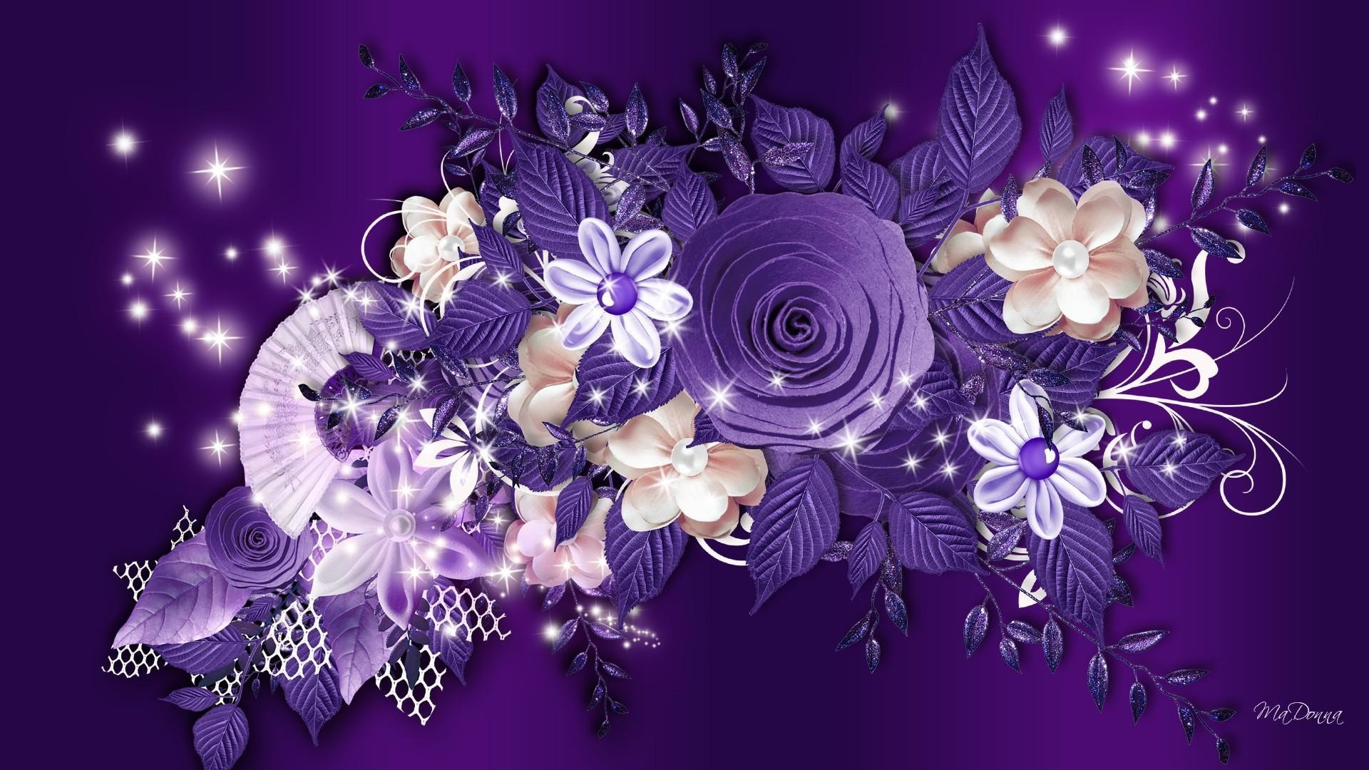 1920x1080 Purple roses and other flowers on a purple background wallpapers and .