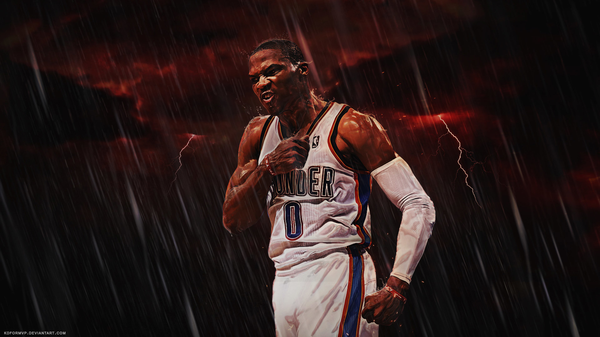 1920x1080 Russell Westbrook Thunder 2015-2016 Wallpaper