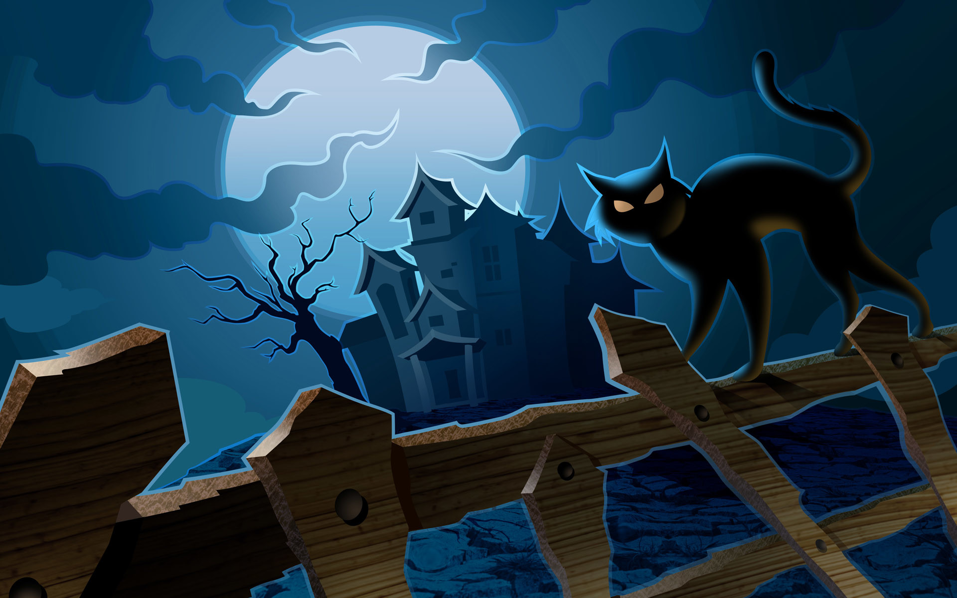 1920x1200 Haunted House Vector Halloween Wallpaper Wallpaper