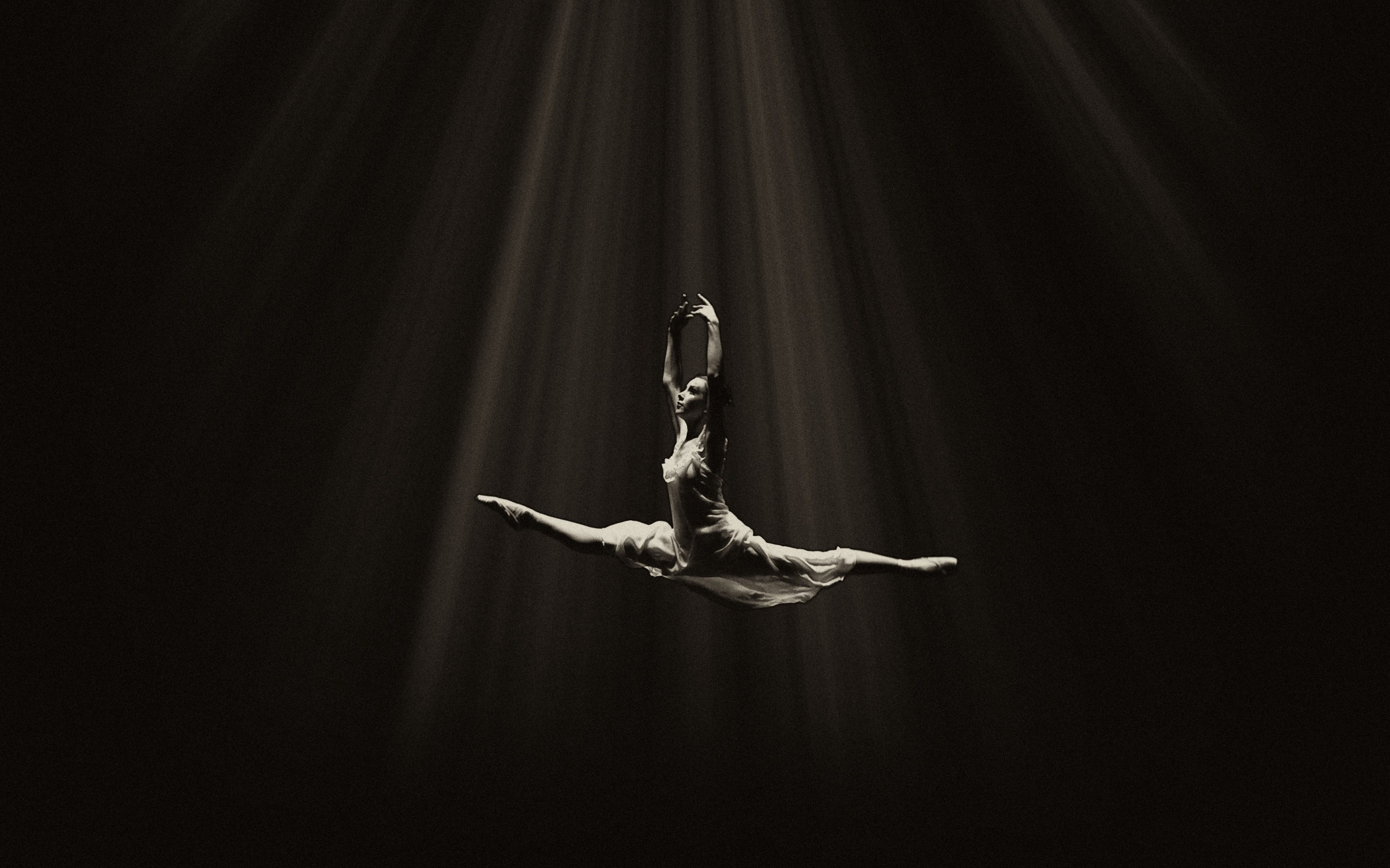 2560x1600  Wallpaper ballerina, ballet, dance, bw, flight