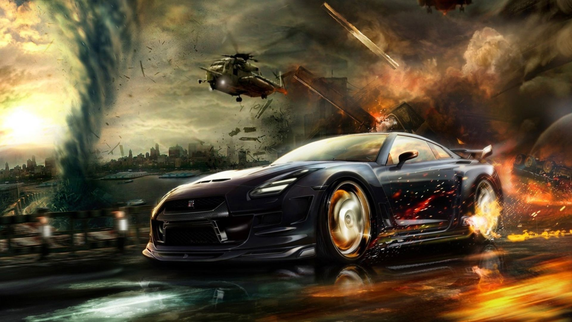 1920x1080 Fantasy Racing Car With Fire on Wheel | HD Other Cars Wallpaper Free  Download ...